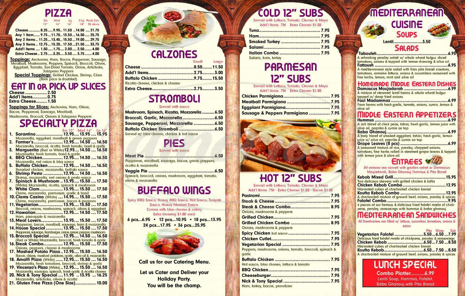 menu for Nick & Tony's Apizza