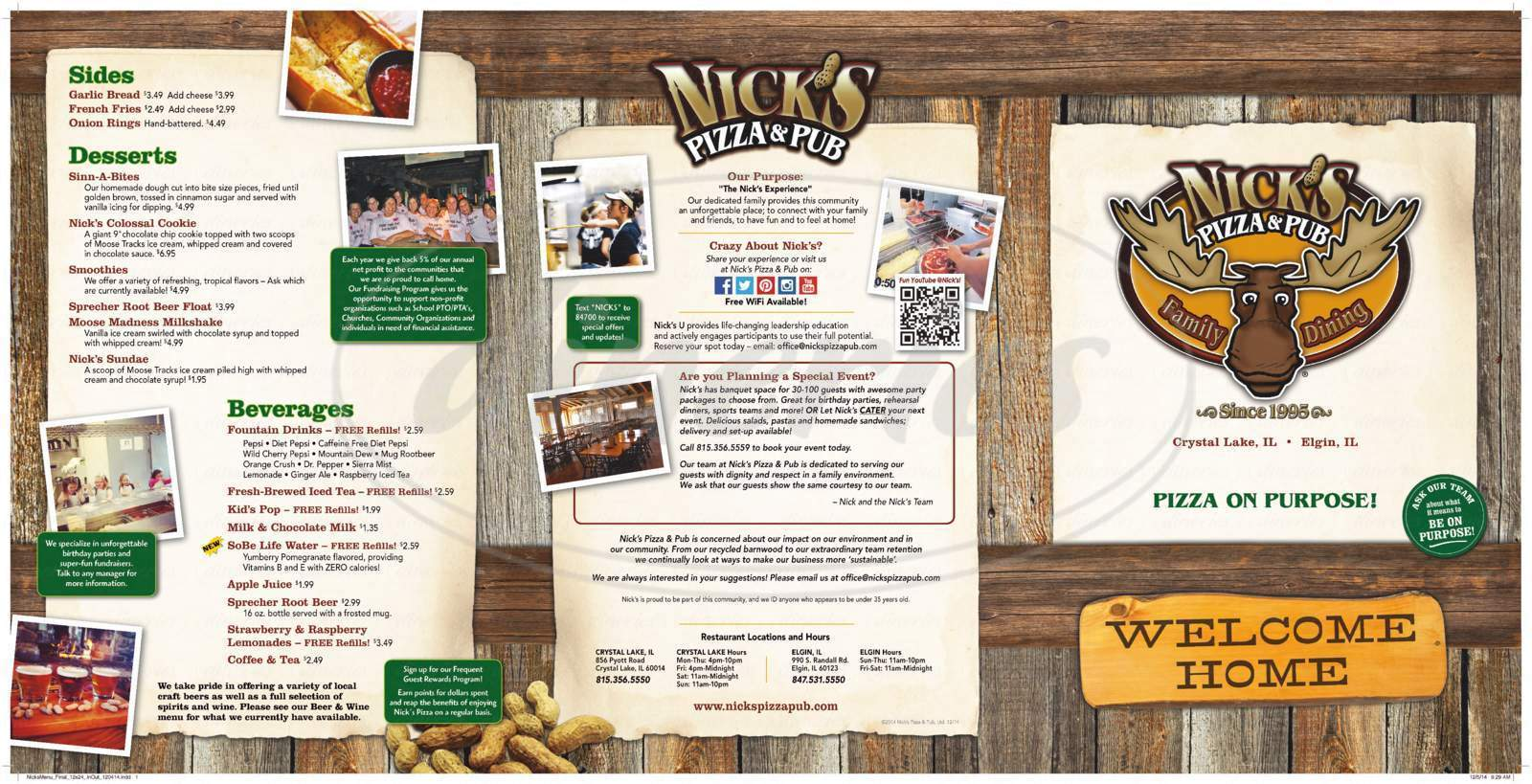 menu for Nick's Pizza