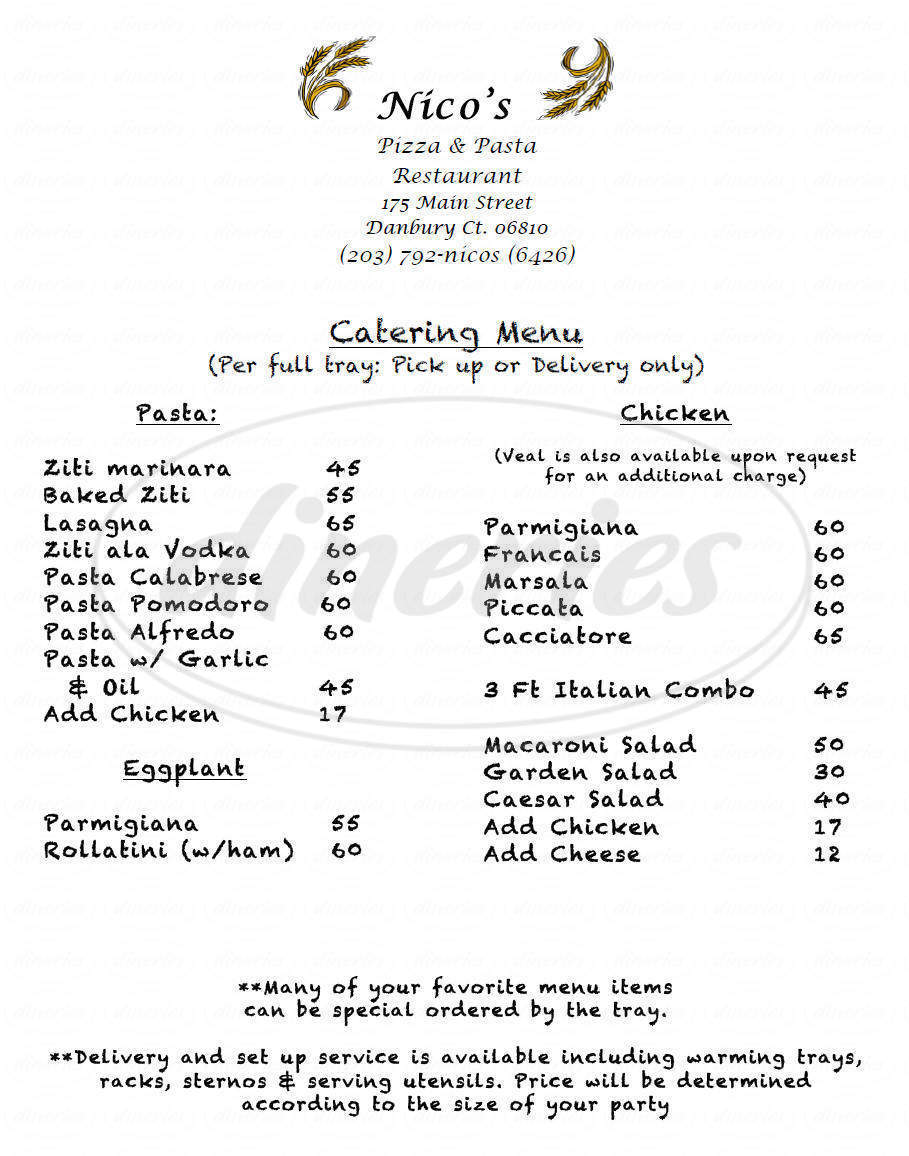 menu for Nico's Pizza & Pasta