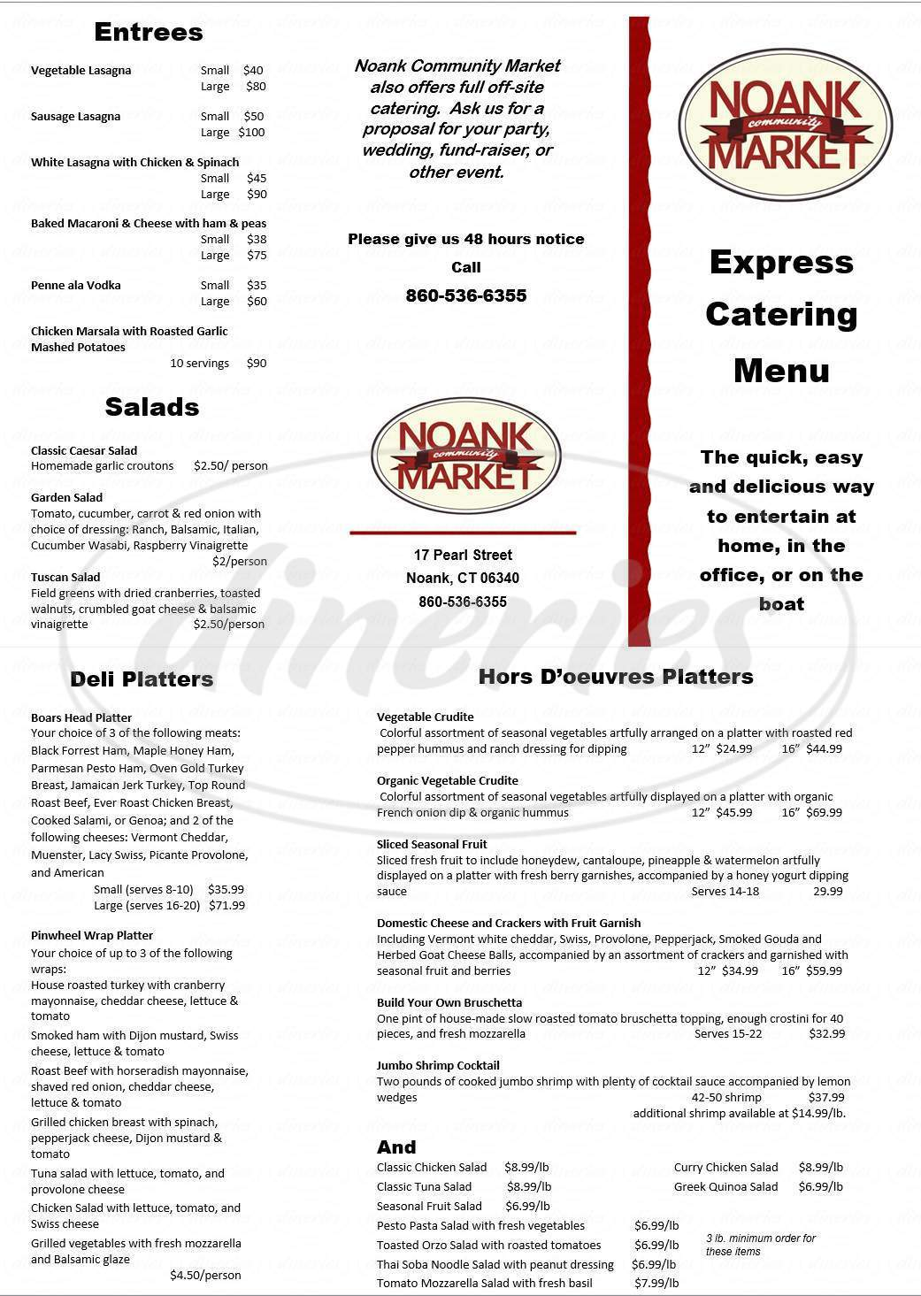 menu for Noank Community Market