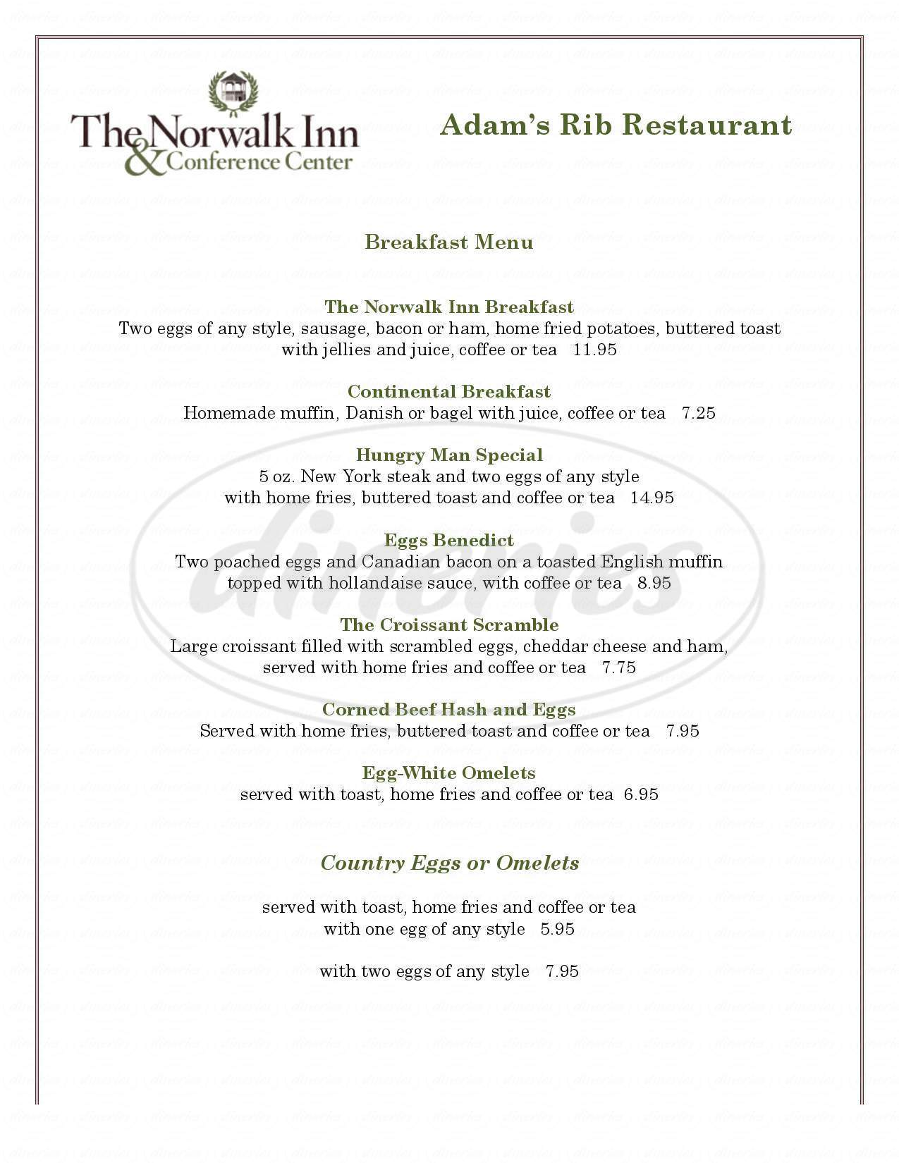 menu for Norwalk Inn Hotel