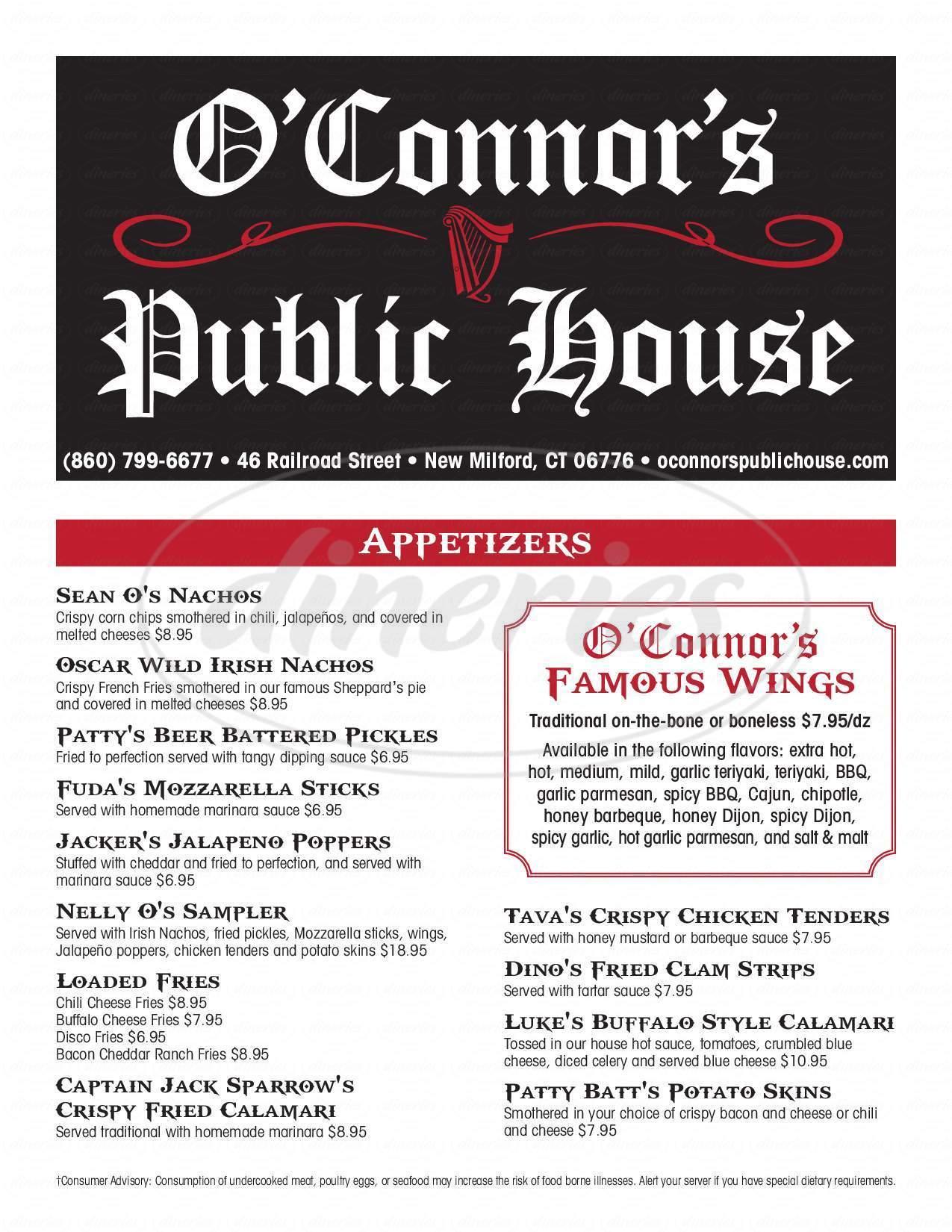 menu for O'Connor's Public House