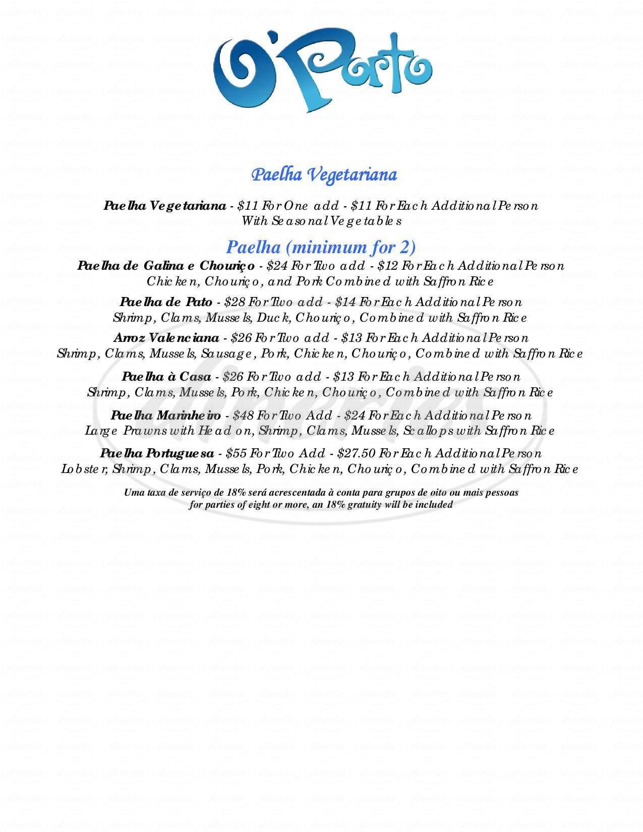menu for O'Porto