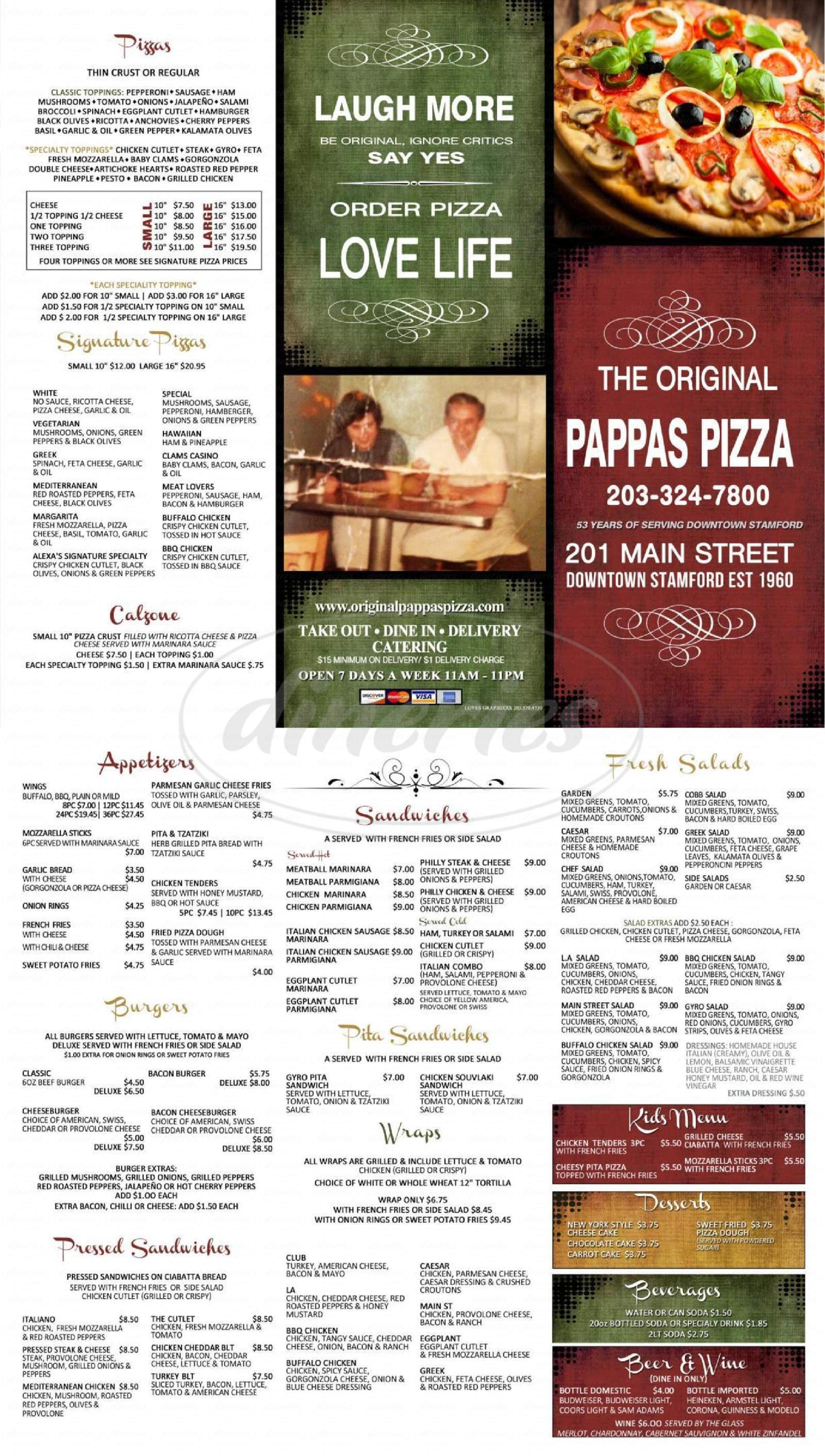 menu for The Original Pappas Pizza