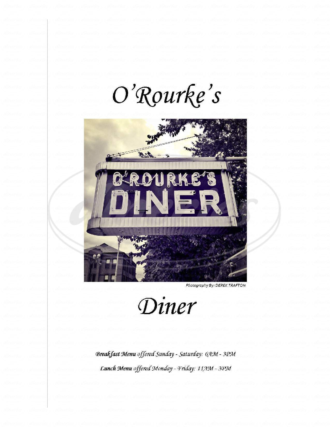 menu for O'Rourke's Diner