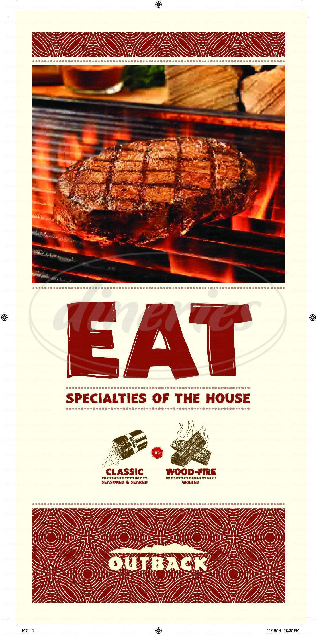 menu for Outback Steakhouse