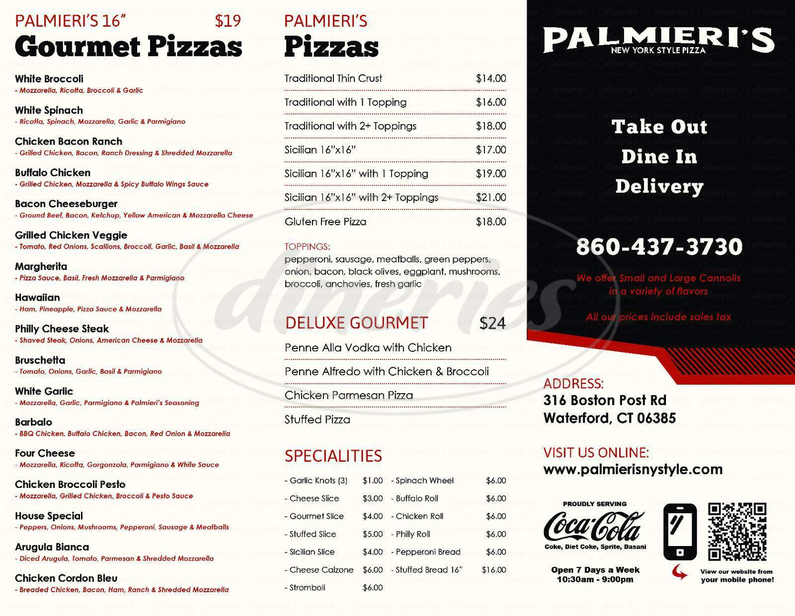 menu for Palmieri's Pizza