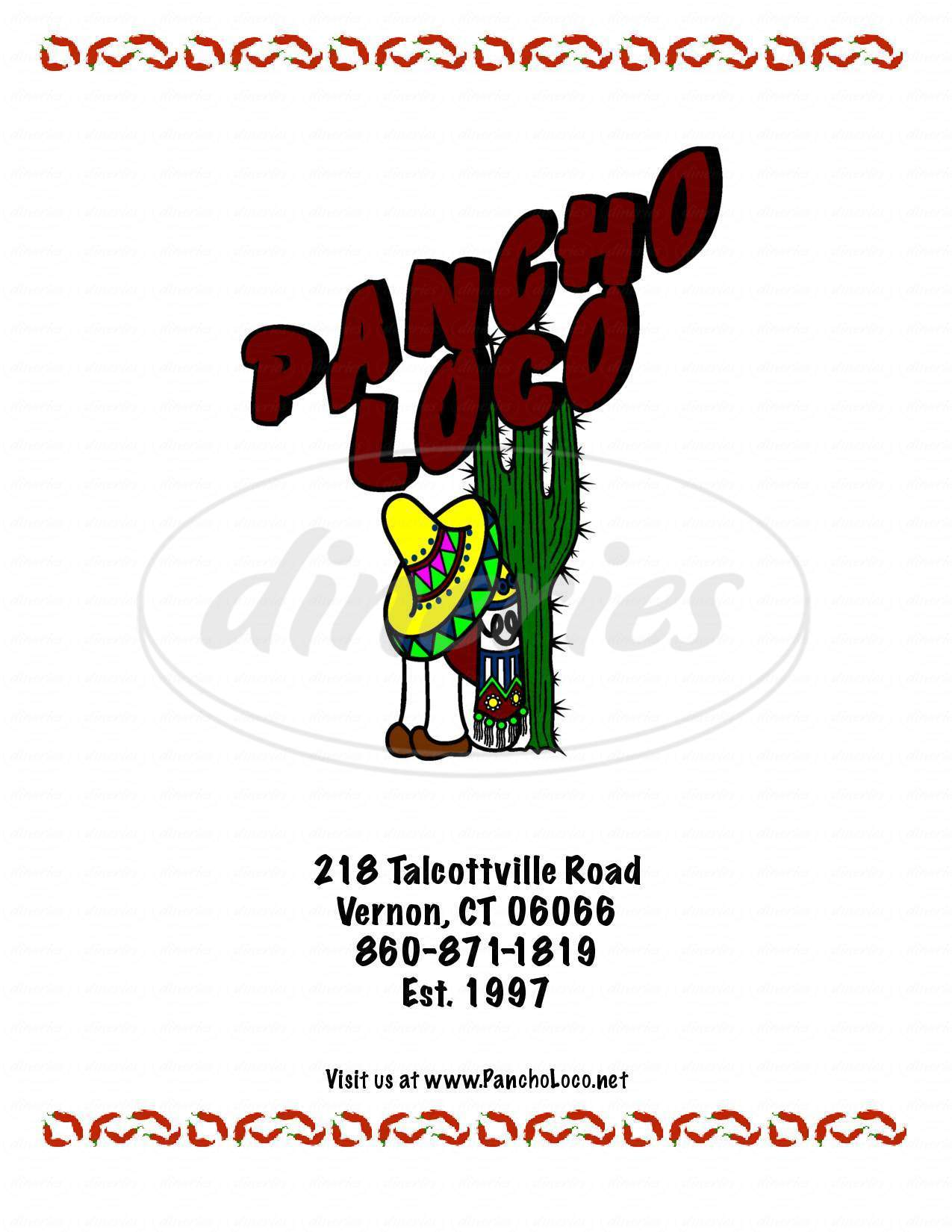 menu for Pancho Loco Resturant