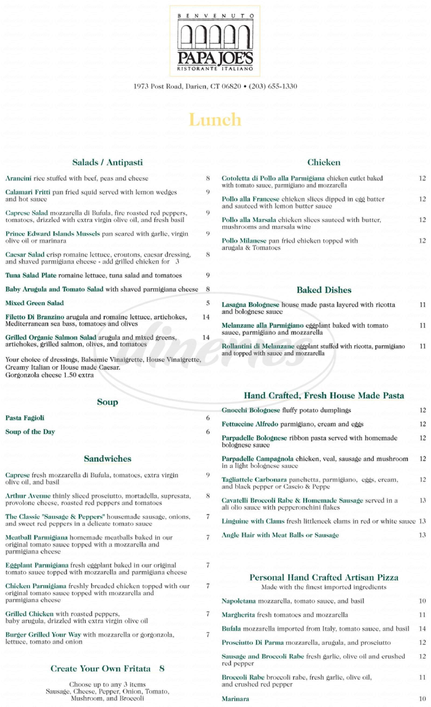 menu for Pappa Joes