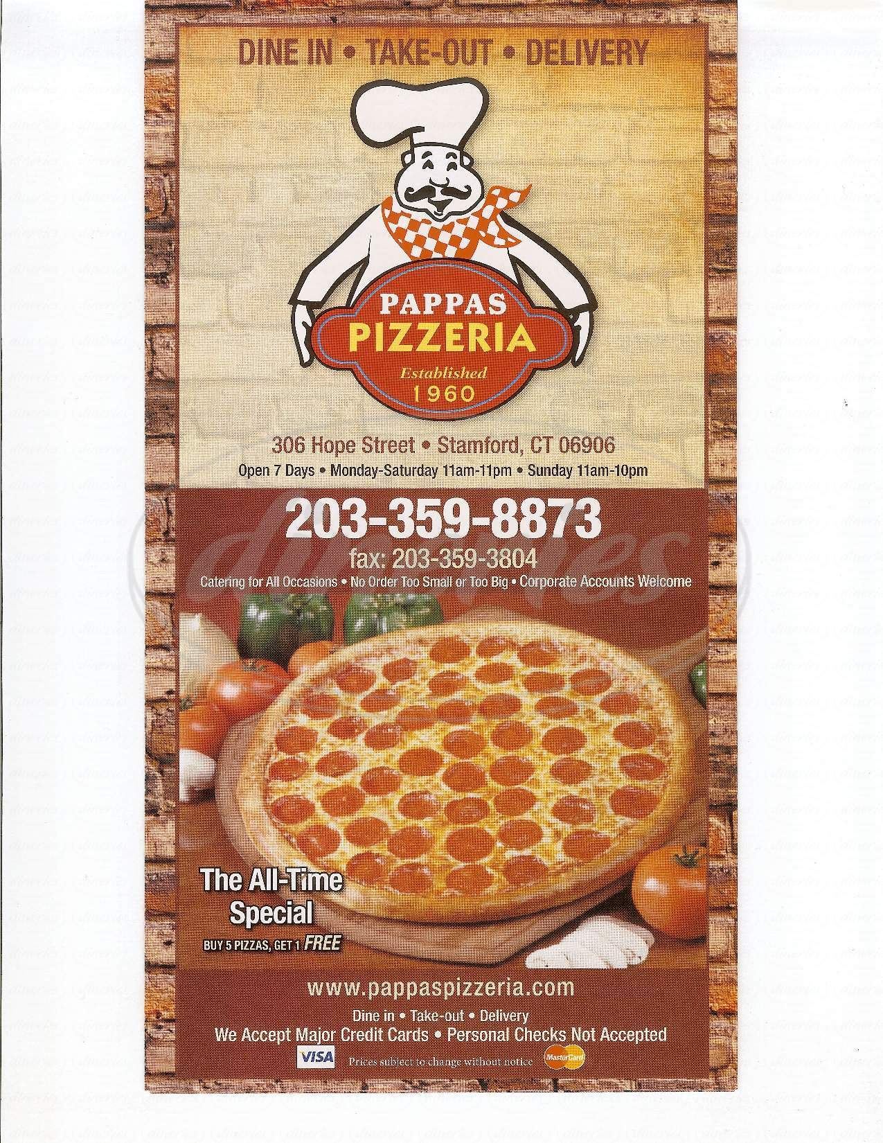menu for Pappa's Pizzeria