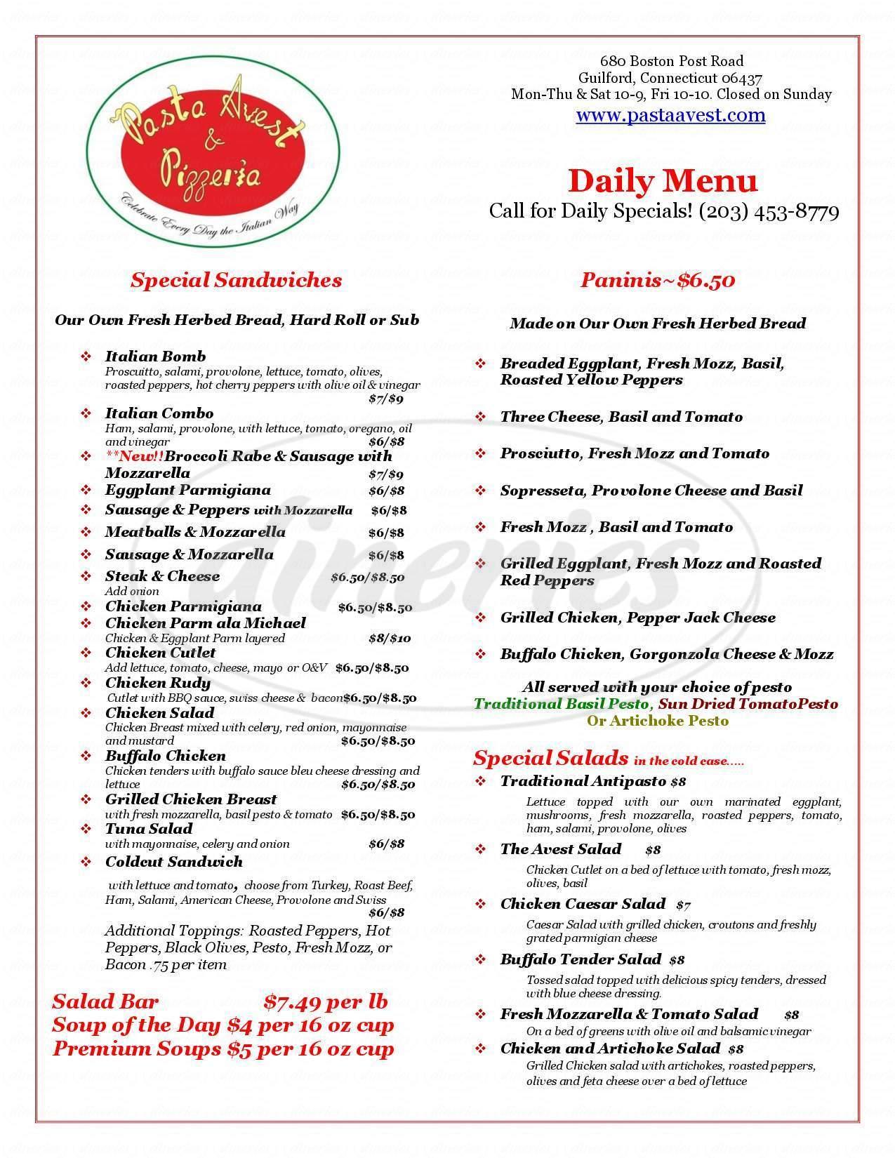 menu for Pasta Avest & Pizzeria