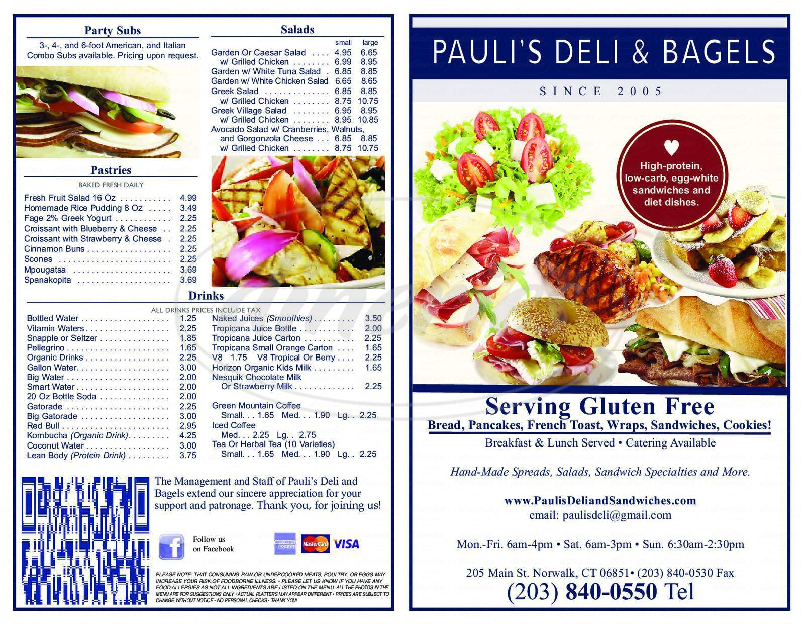 menu for Pauli's Deli & Bagels