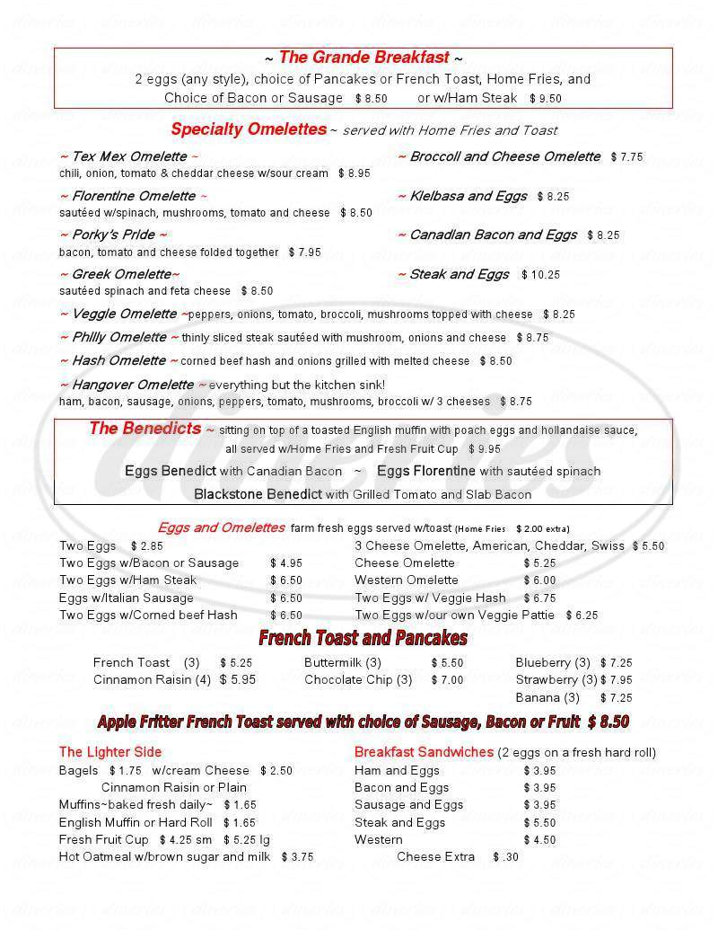 menu for Paul's Restaurant