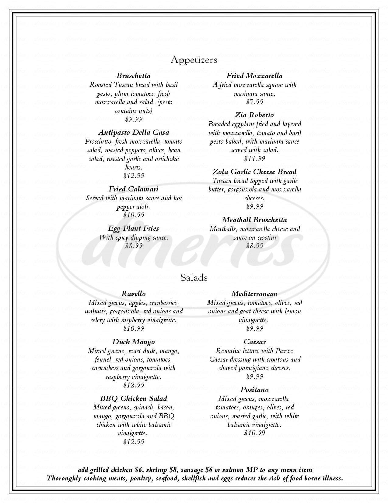 menu for Pazzo Italian Cafe
