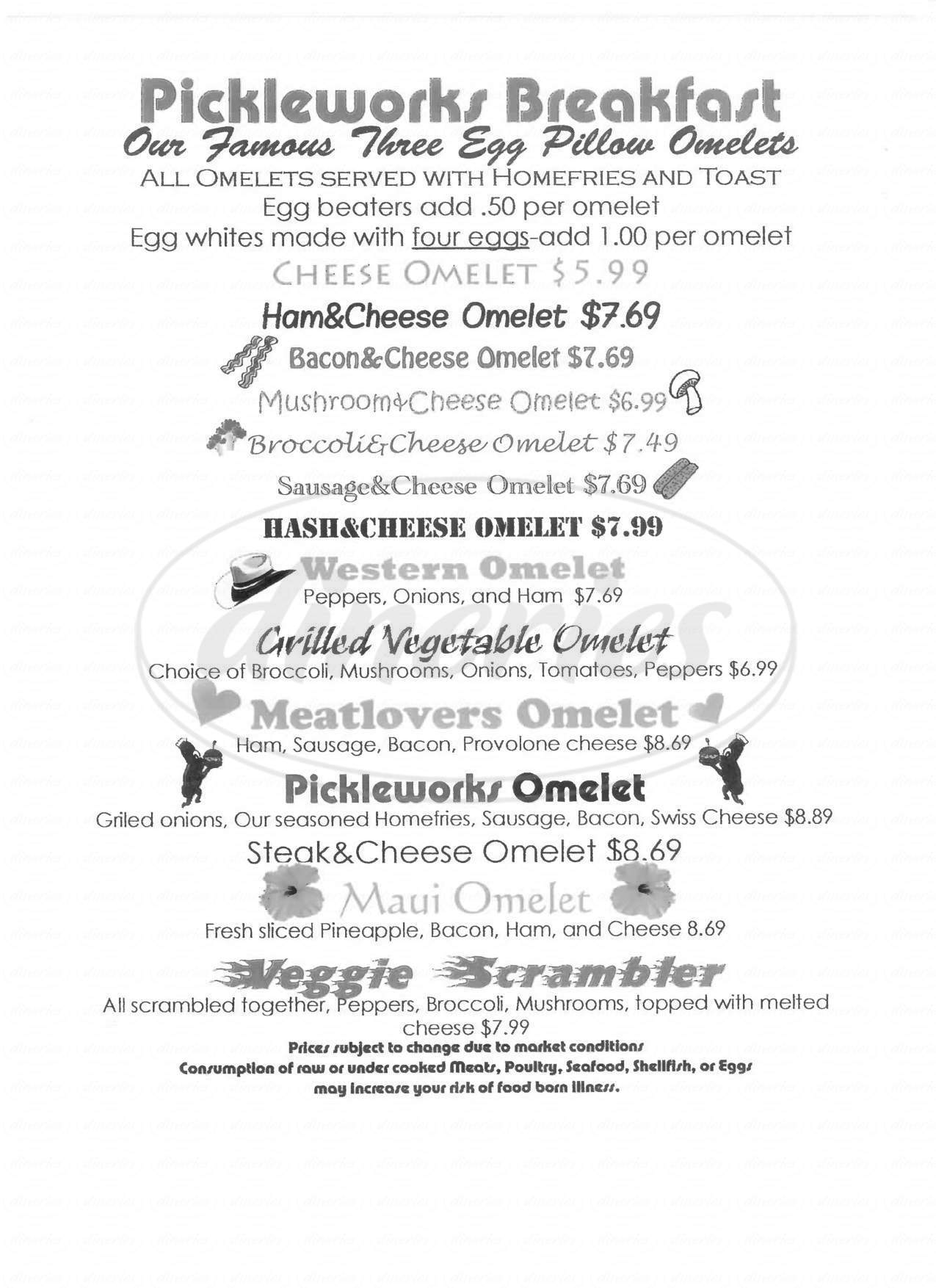 menu for Pickle Works Restaurant