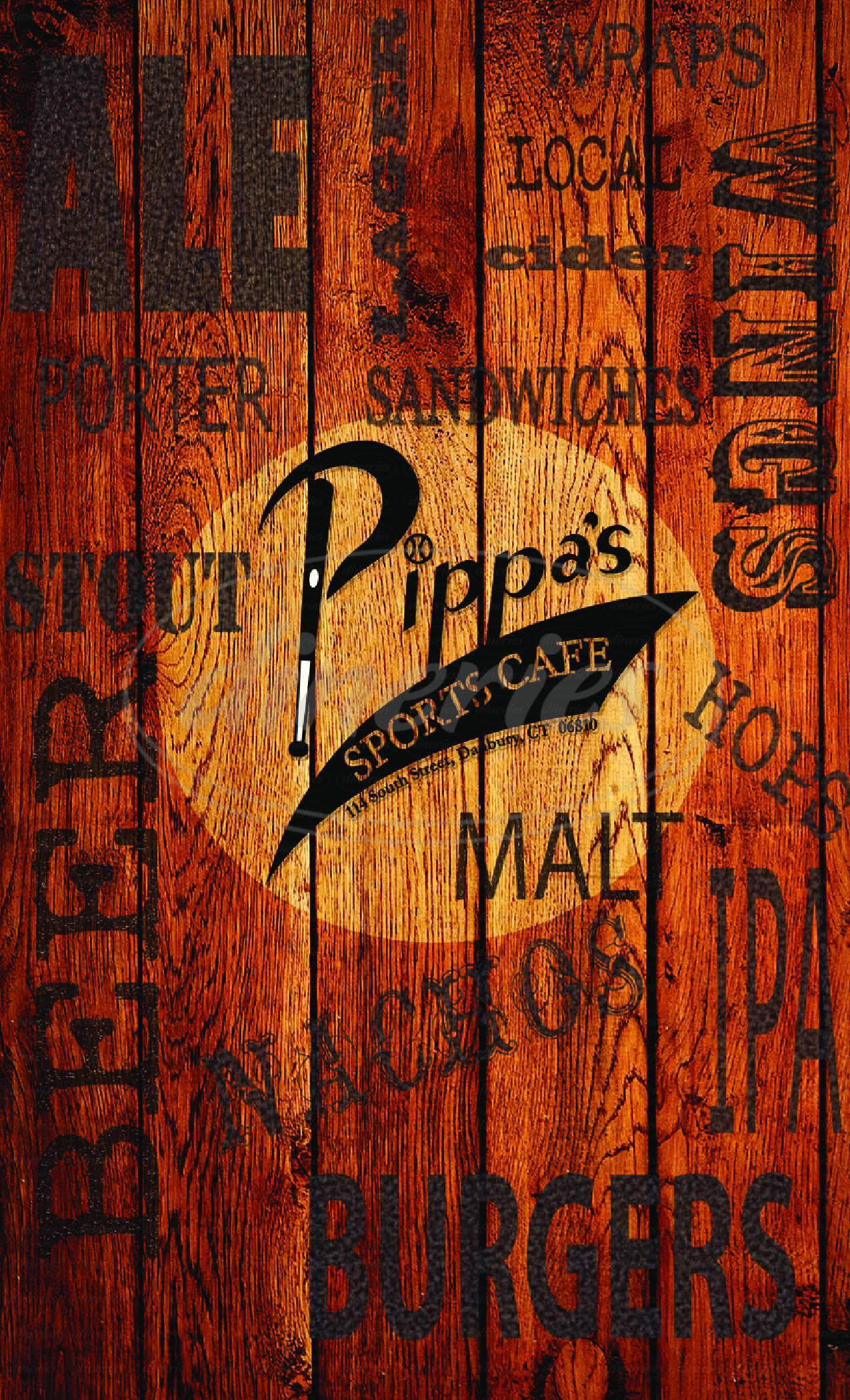 menu for Pippa's Sports Cafe