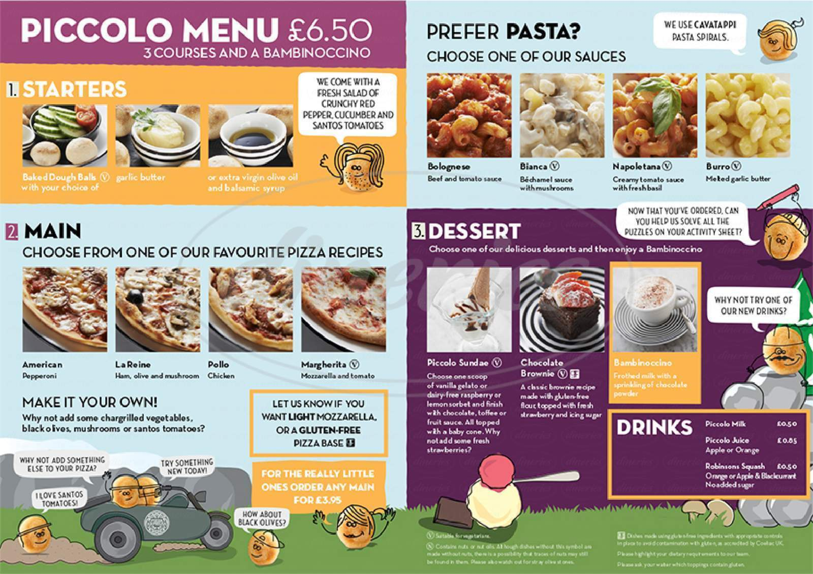 menu for Pizza Express