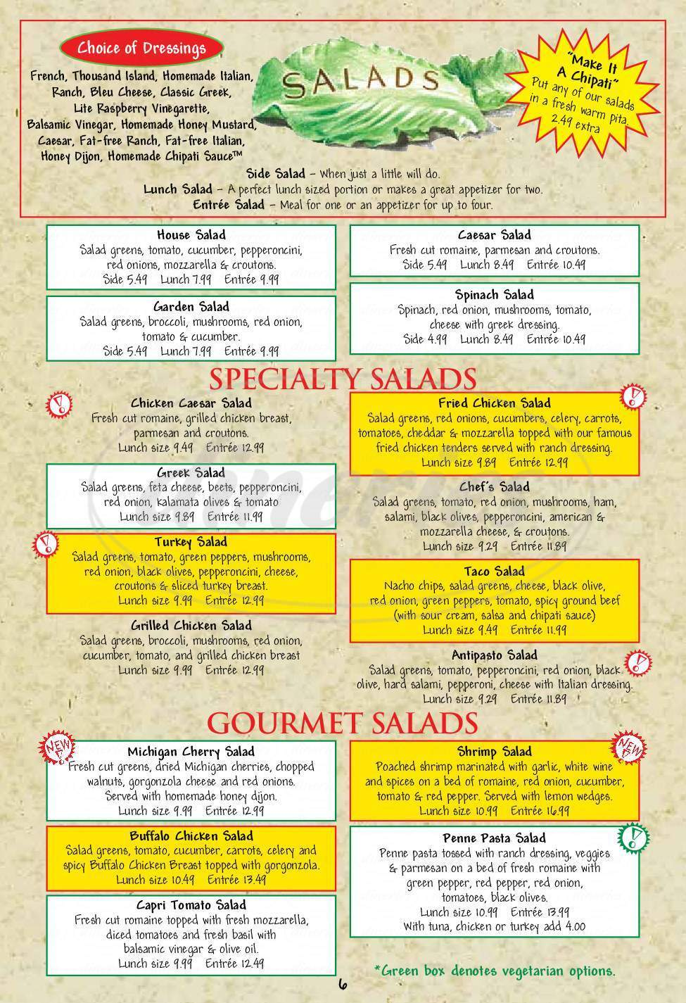 menu for Pizza House