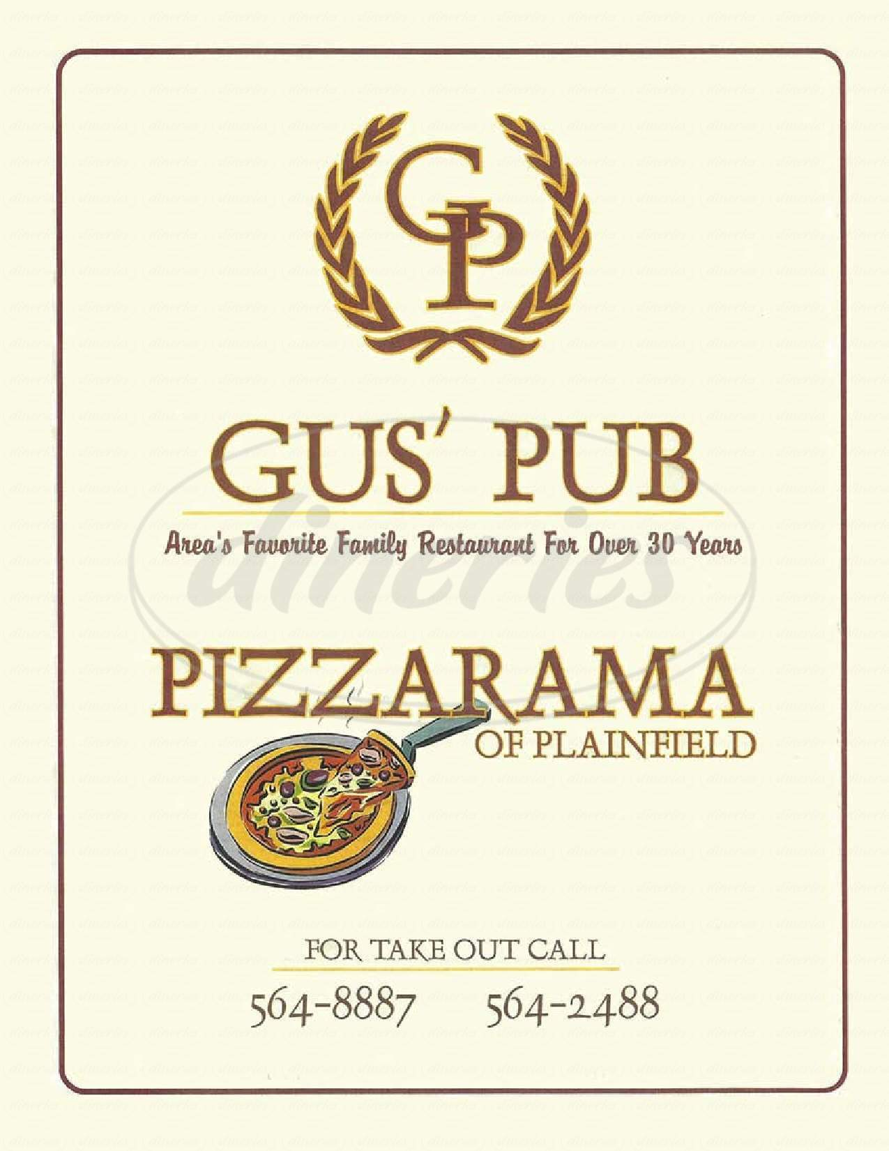 menu for Gus'pizzarama of Plainfield
