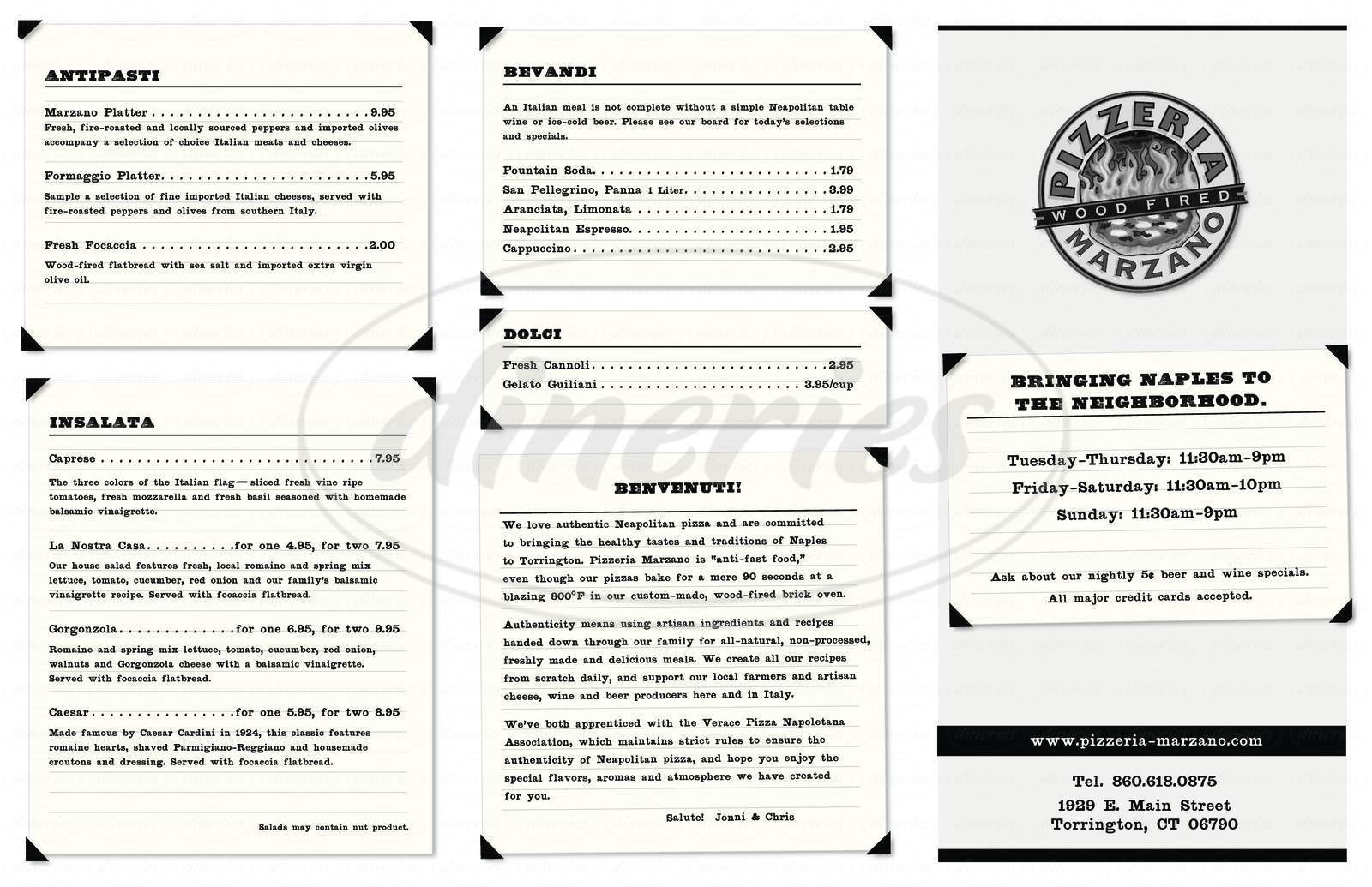 menu for Pizzeria Marzano