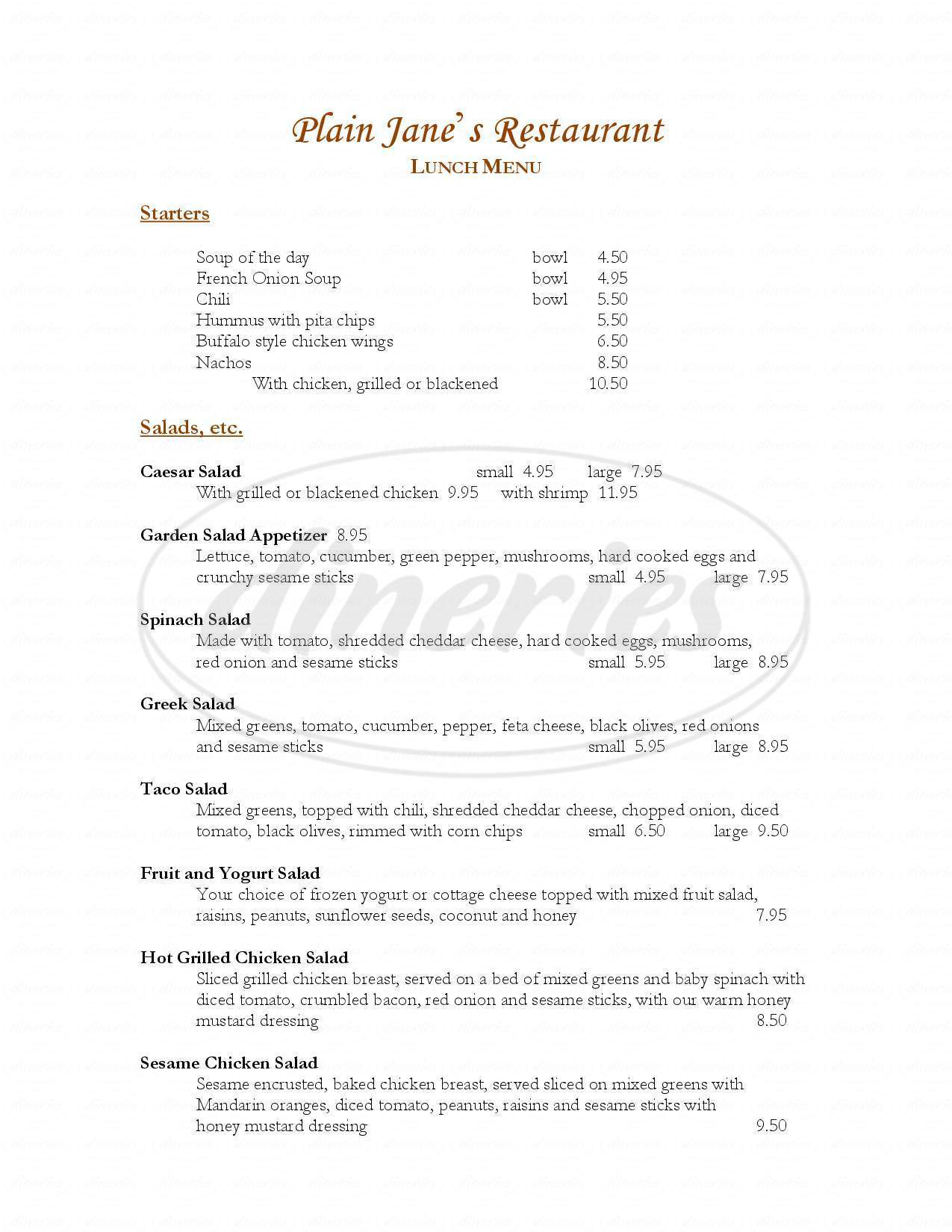 menu for Plain Jane's Restaurant