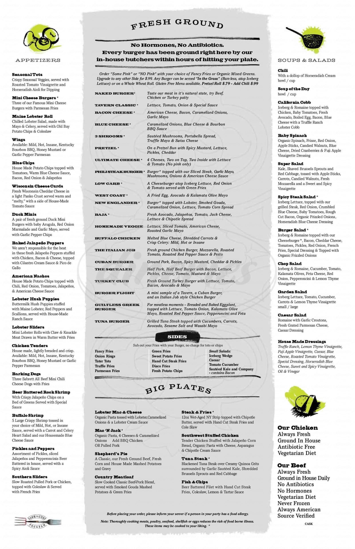 menu for Plan B Burger Bar