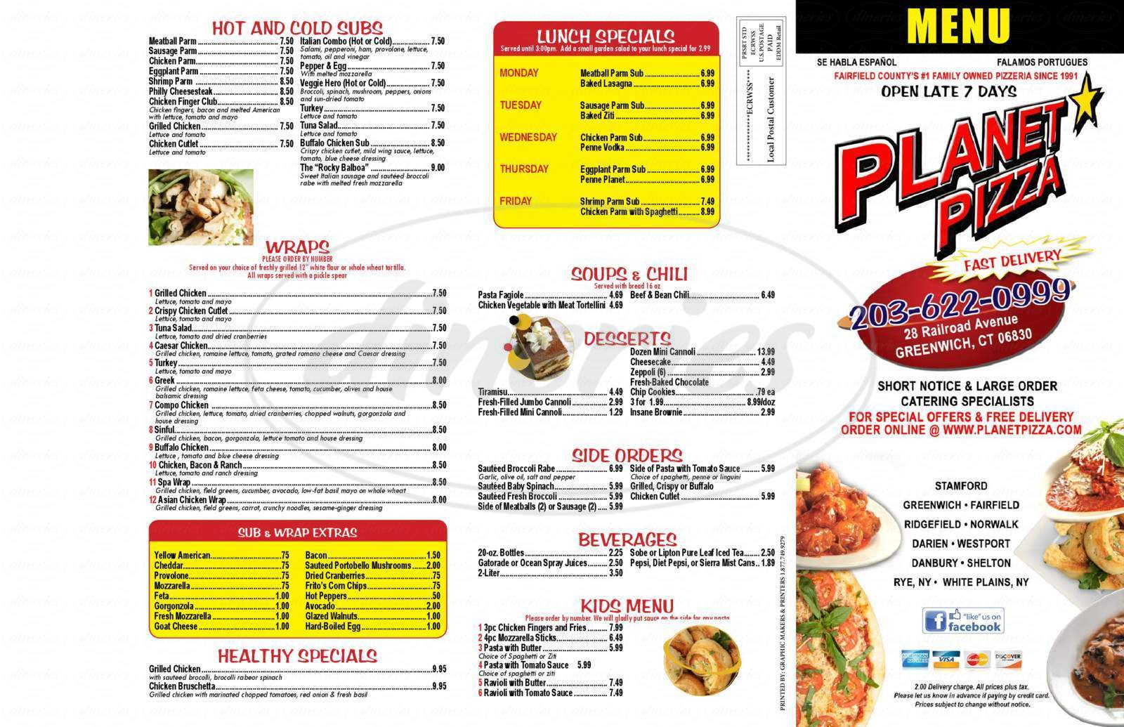 menu for Planet Pizza
