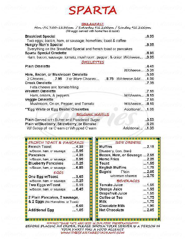 menu for Sparta Restaurant