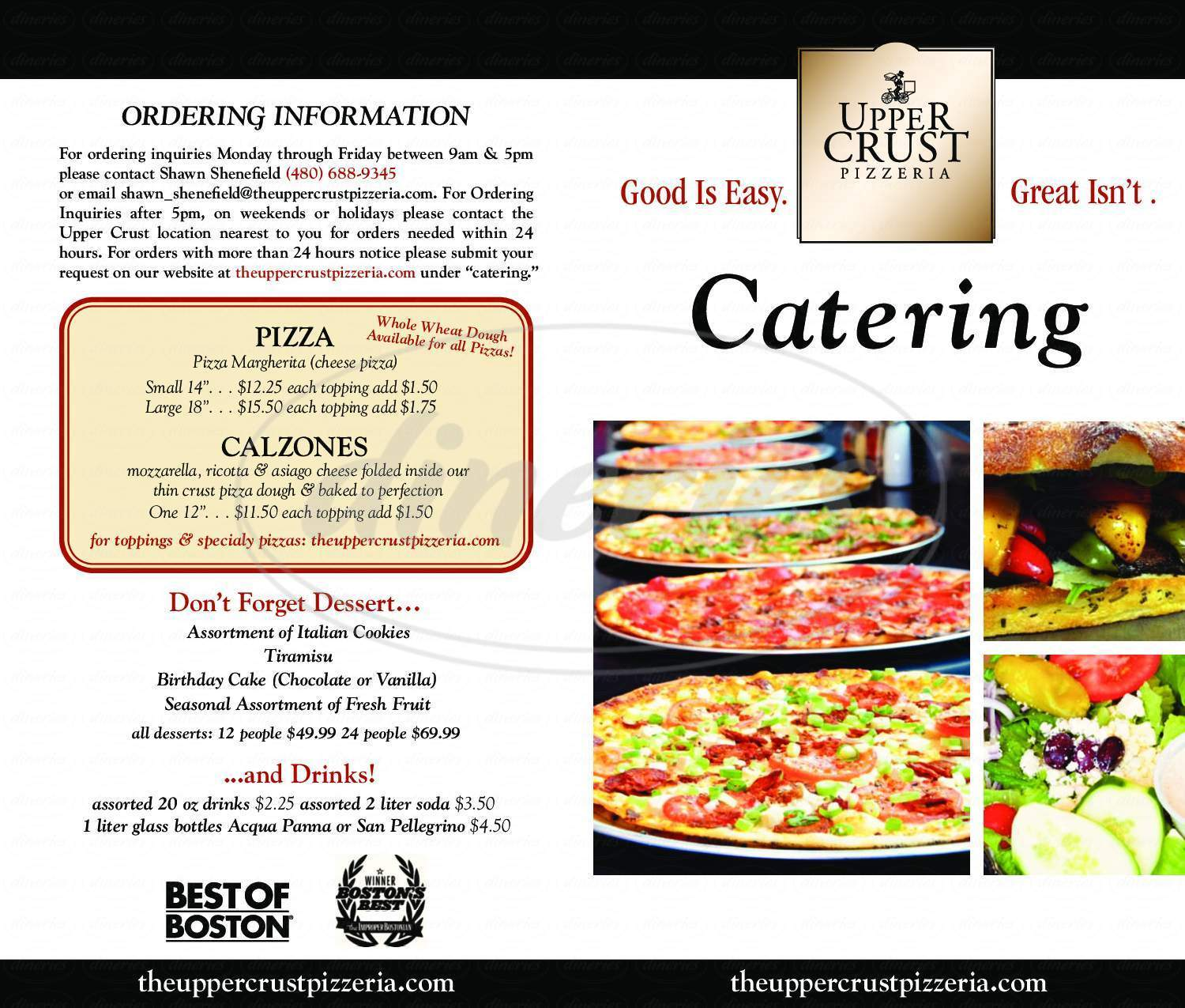 menu for Upper Crust Pizzeria