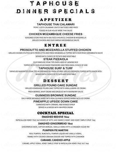 menu for Taphouse Grille