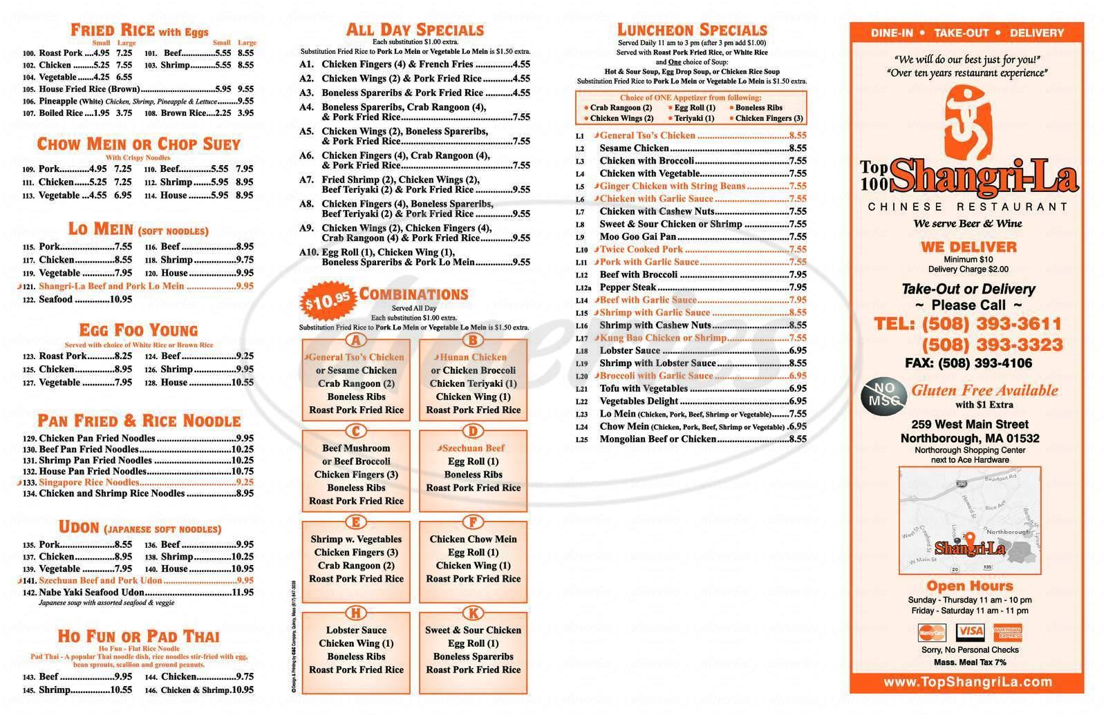 menu for Top 100 Shangri-La
