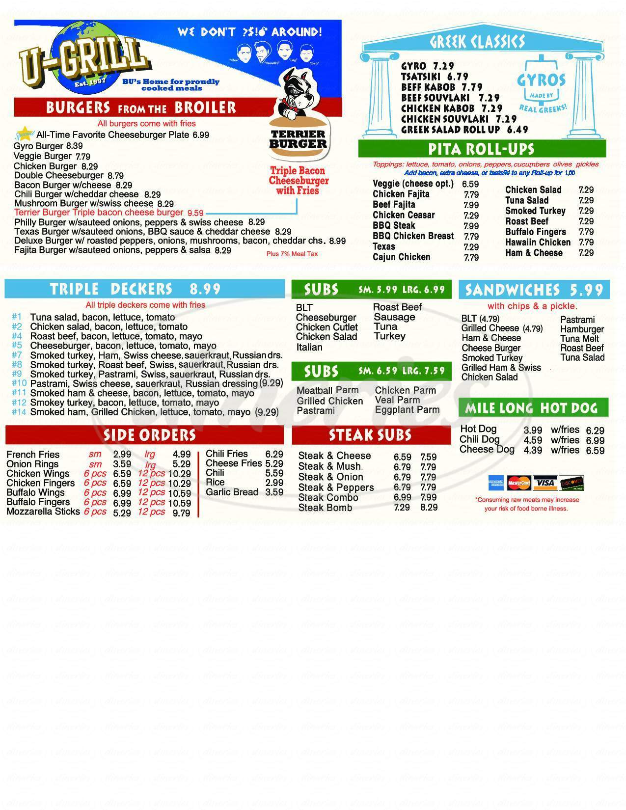menu for University Grill & Pizza