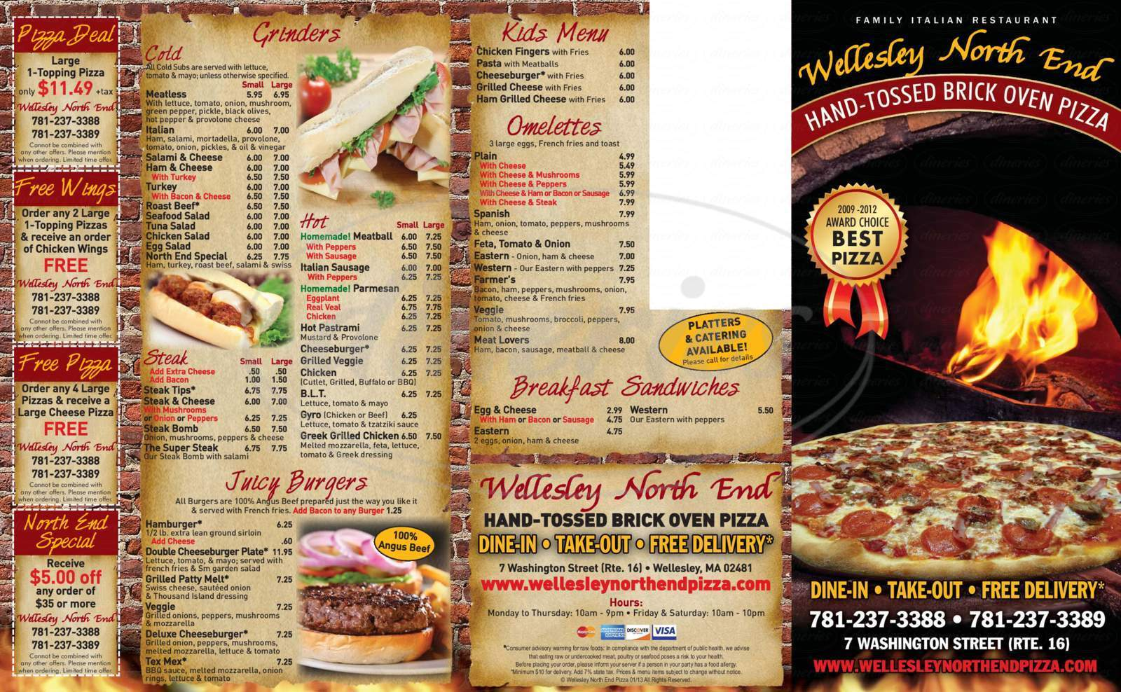 menu for Wellesley North End Pizza