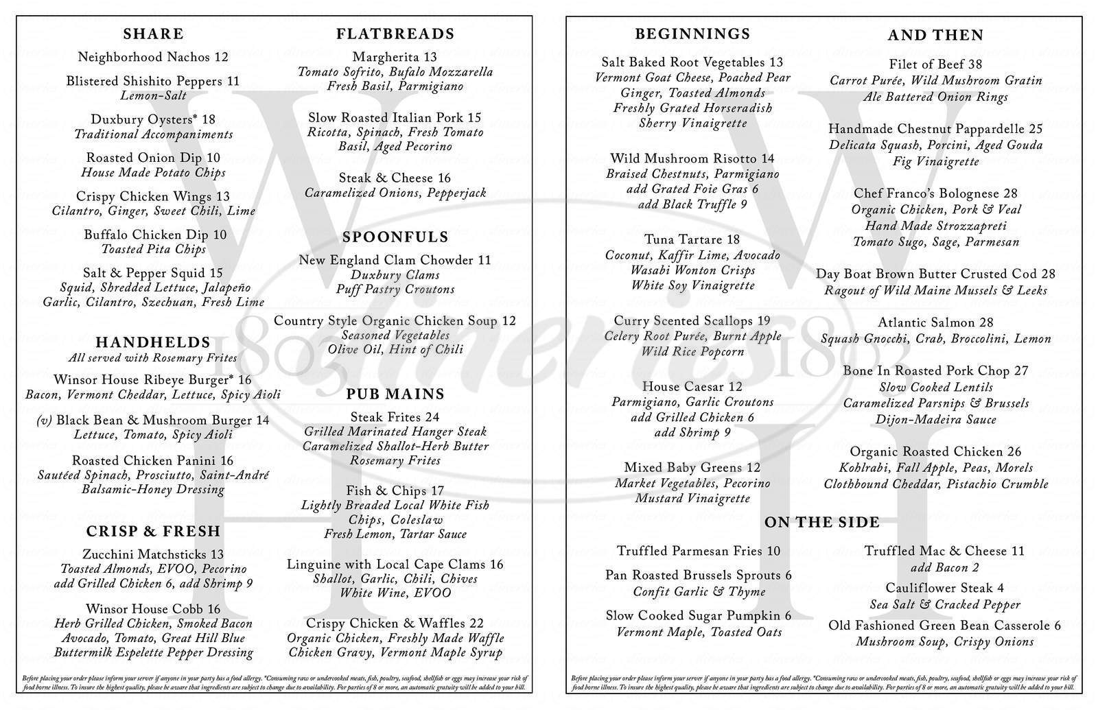 menu for The Winsor House Inn