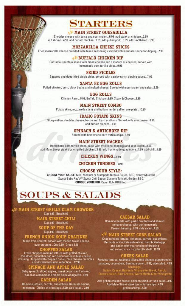 menu for Main Street Grille