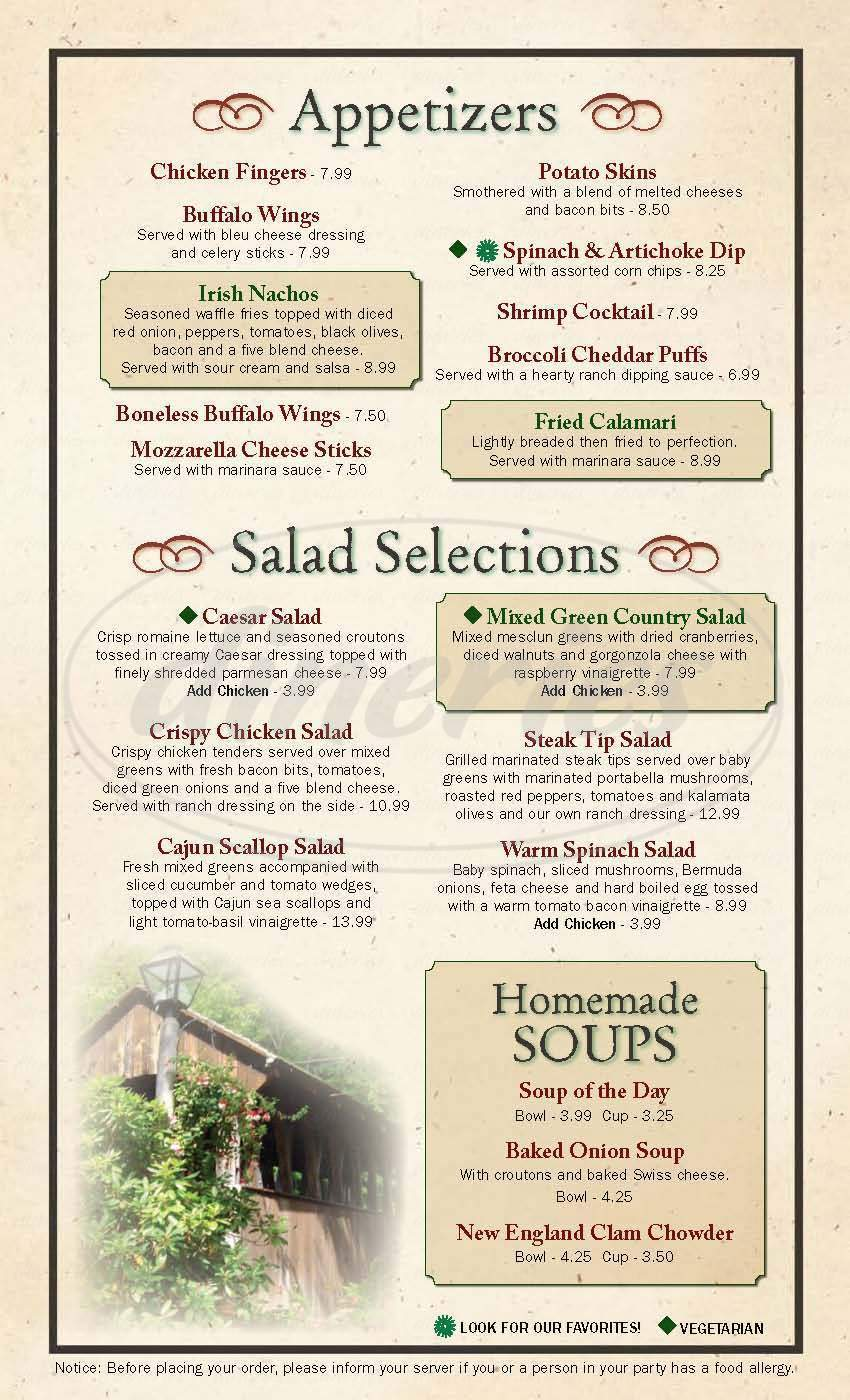 menu for The 1761 Old Mill