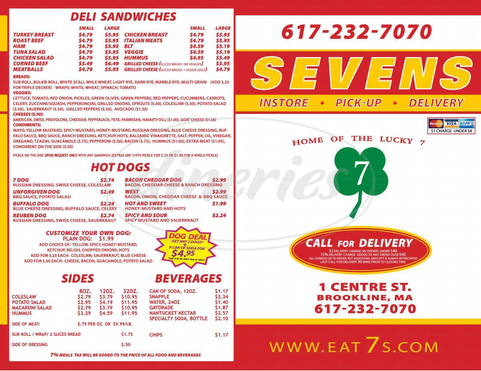 menu for Seven Subs