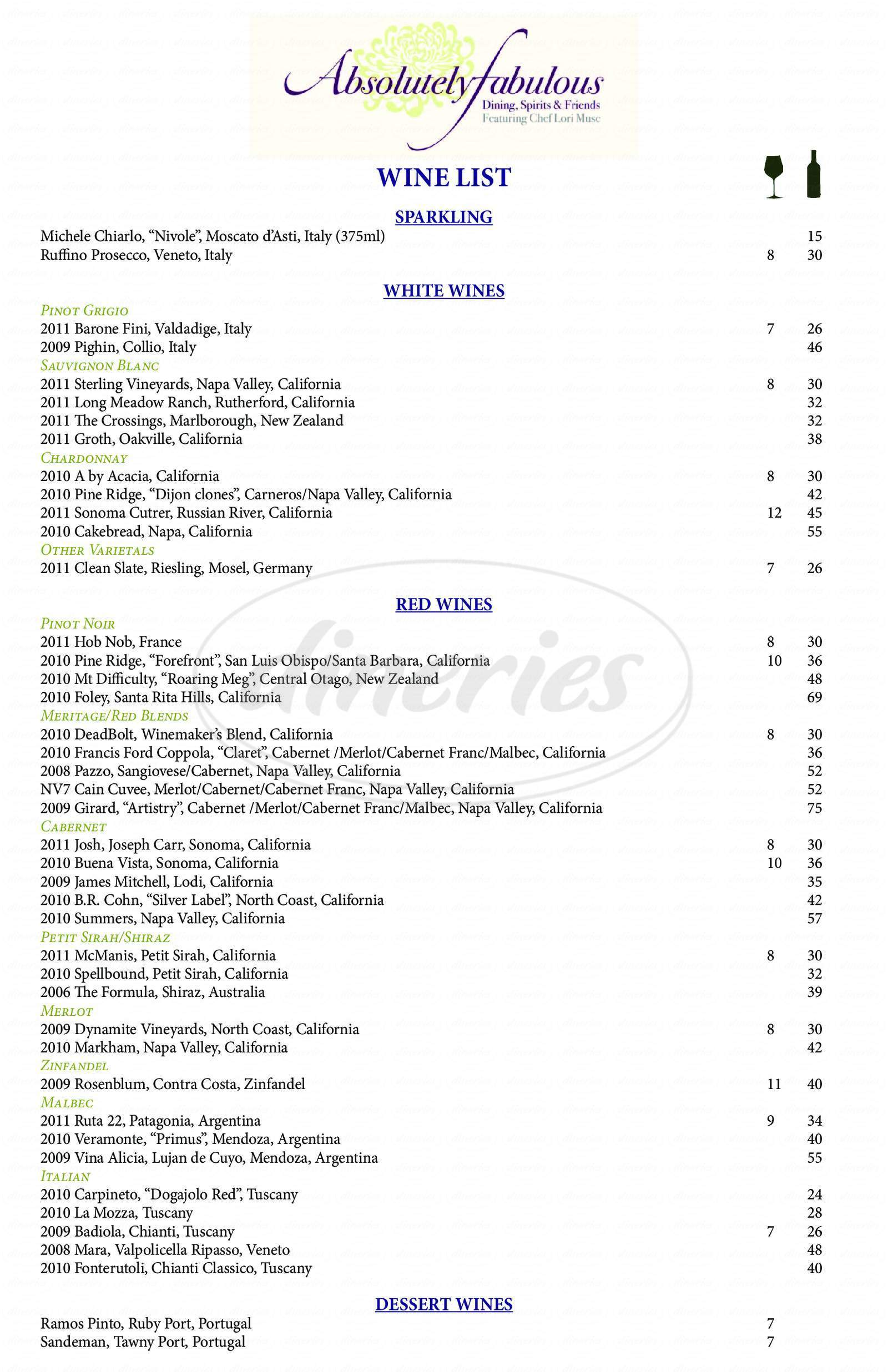 menu for Absolutely Fabulous