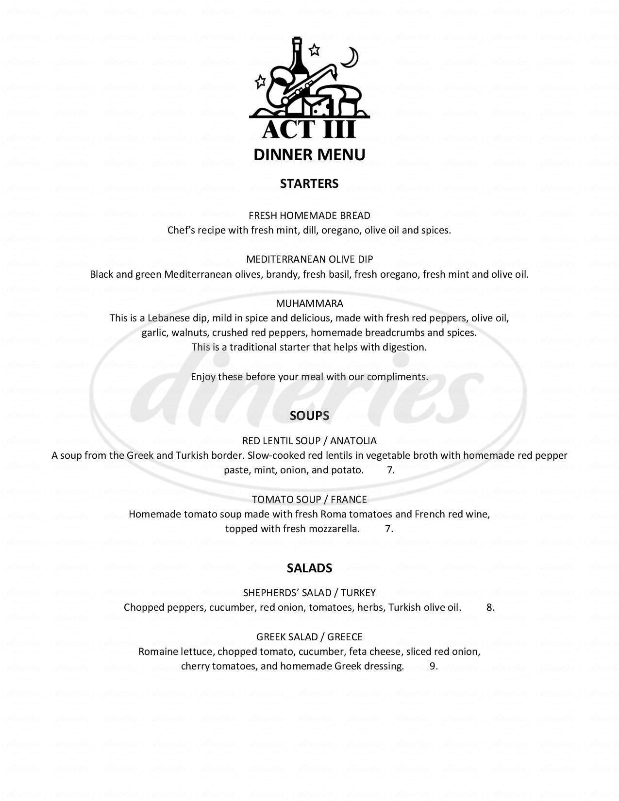menu for The Acton Jazz Cafe