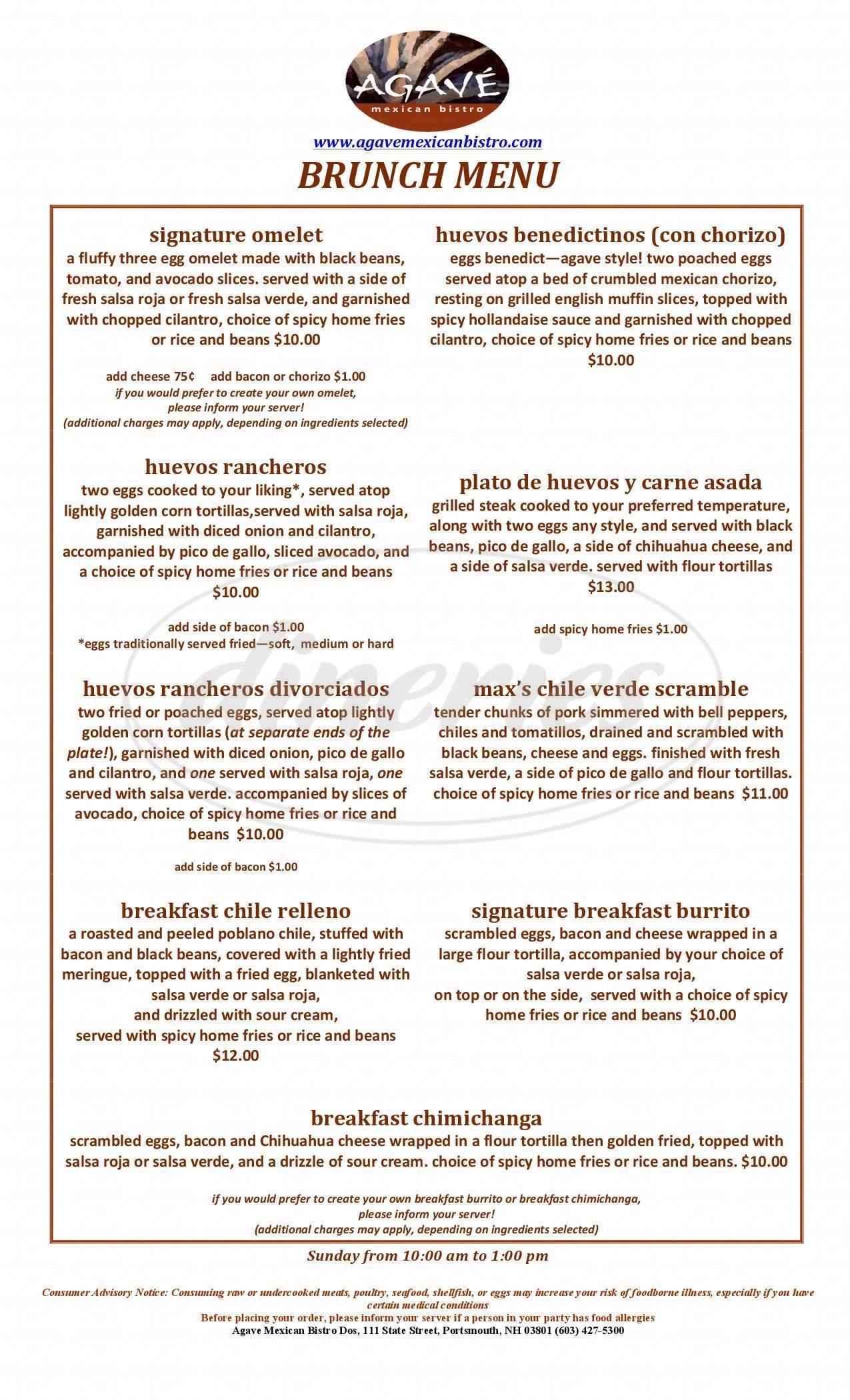 menu for Agave