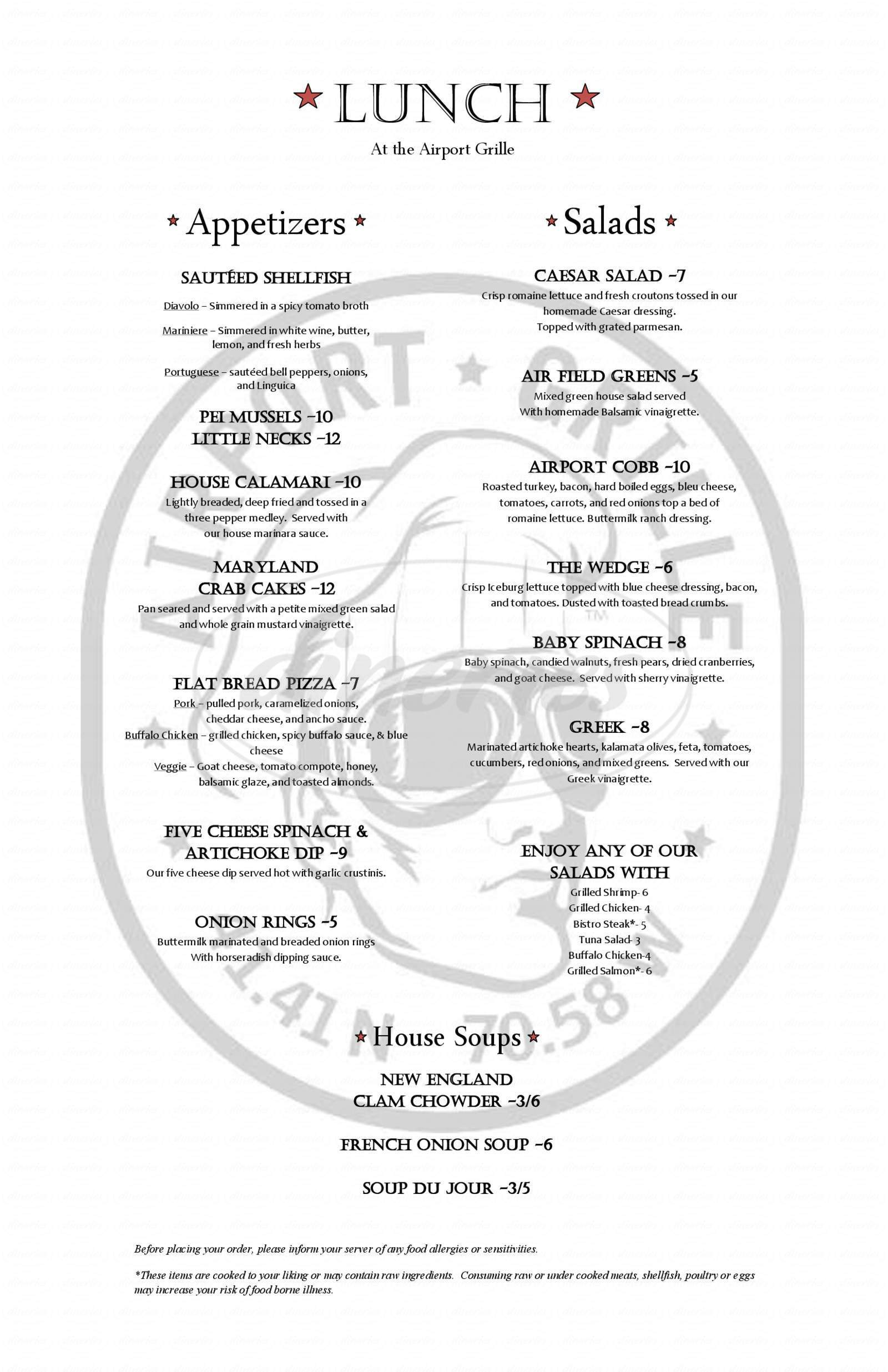 menu for Airport Grille