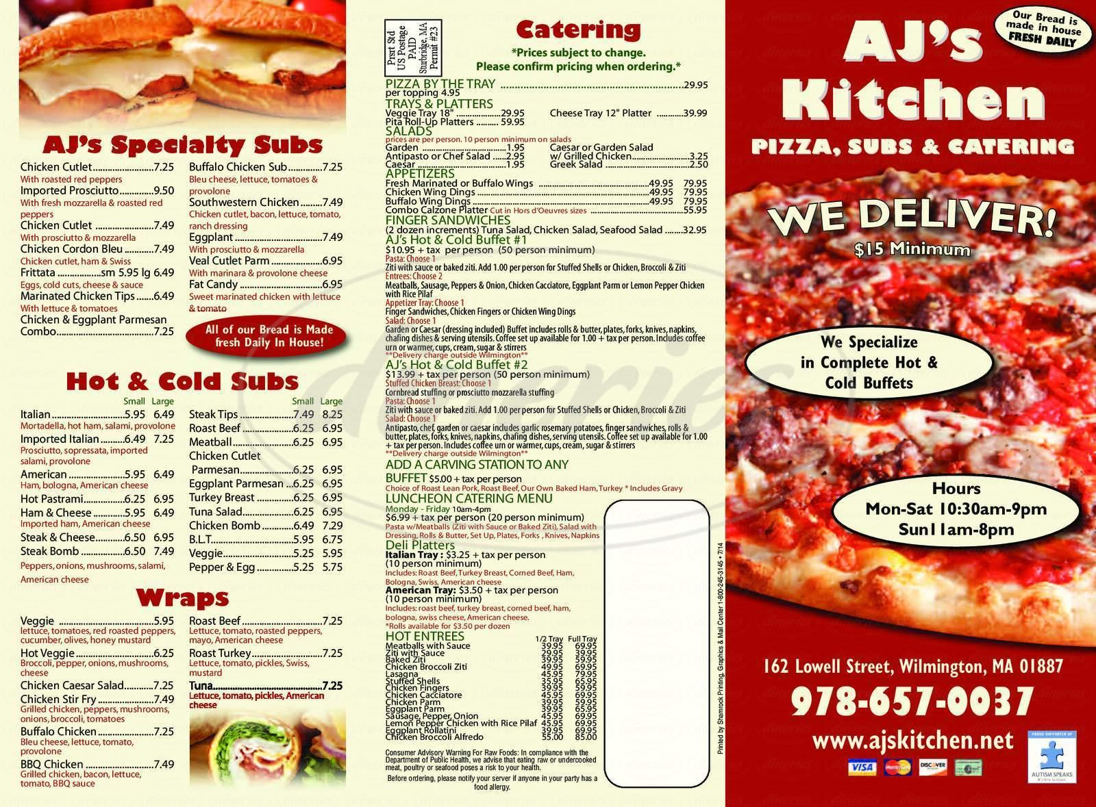menu for AJ's Kitchen