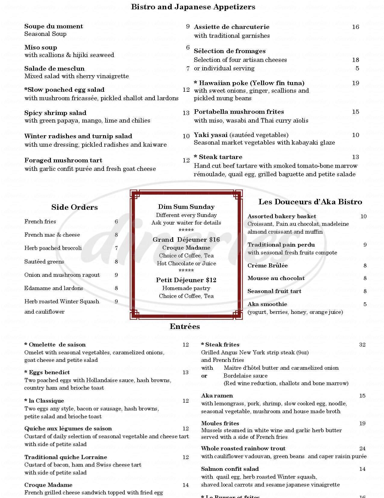 menu for AKA Bistro