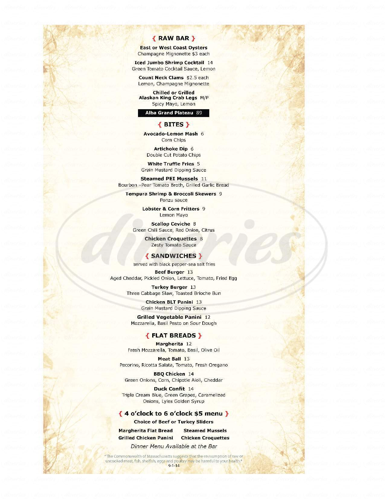 menu for Alba Restaurant