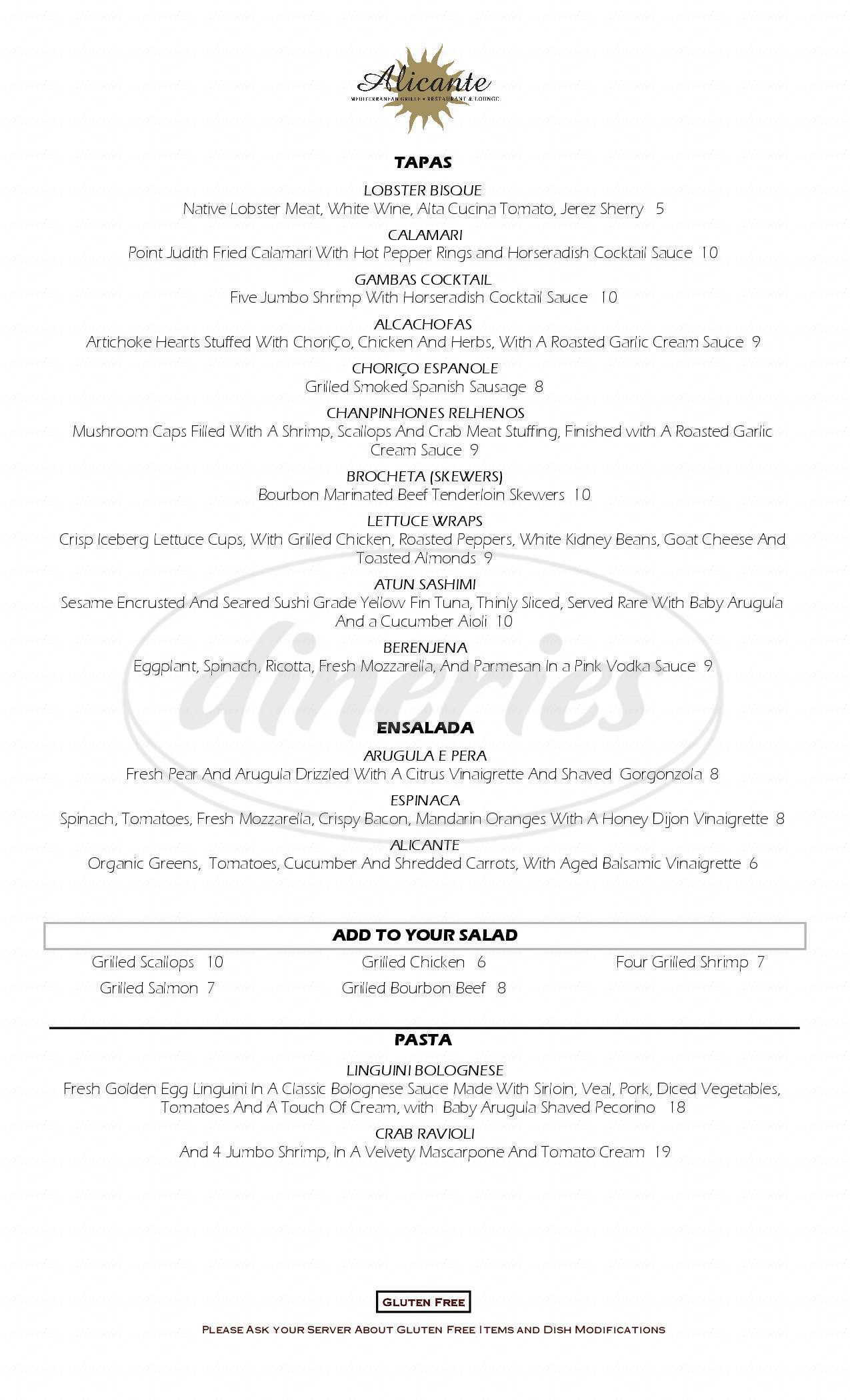 menu for Alicante Mediterranean Grille
