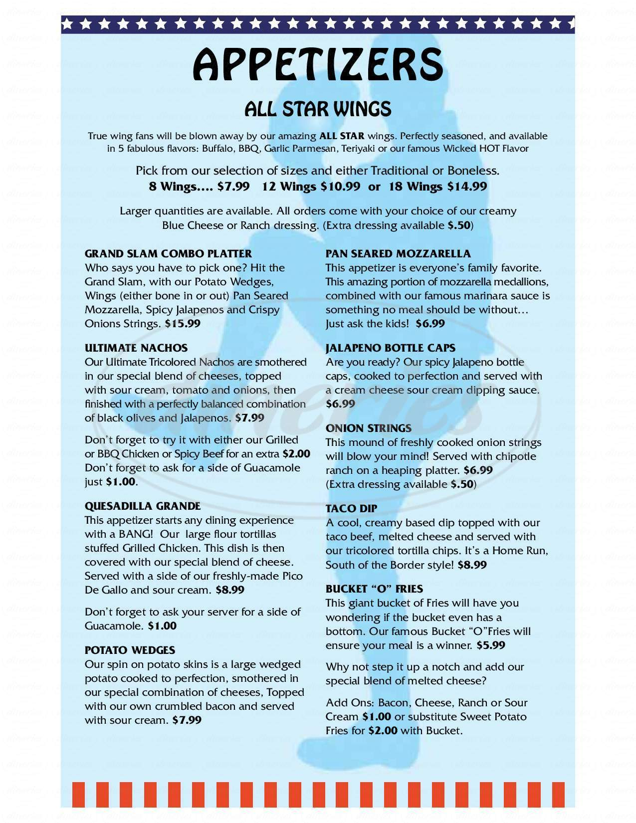 menu for All Star Pub