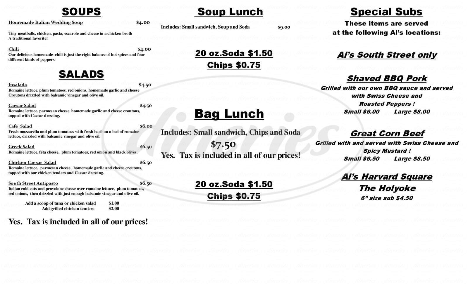 menu for Al's South Street Cafe