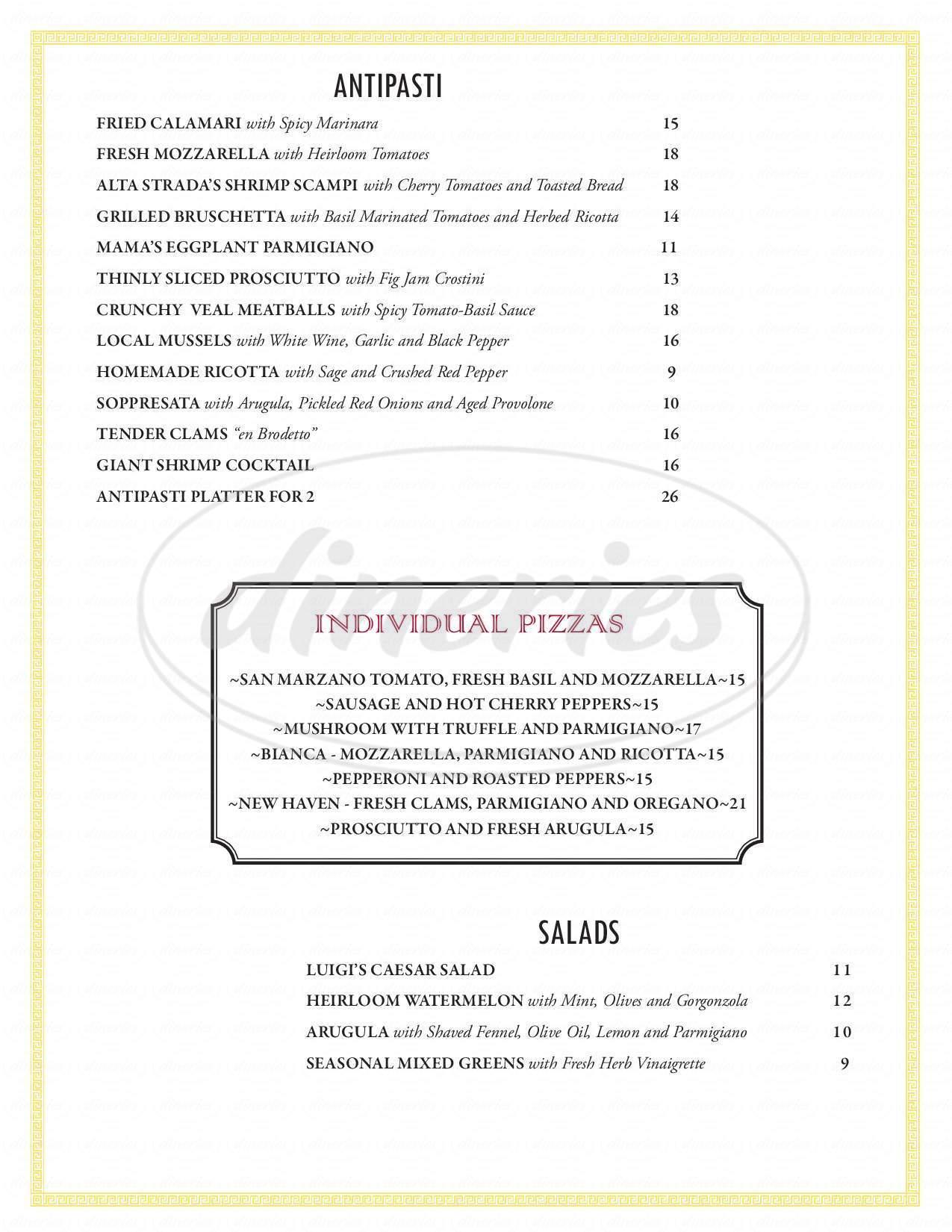 menu for Alta Strada