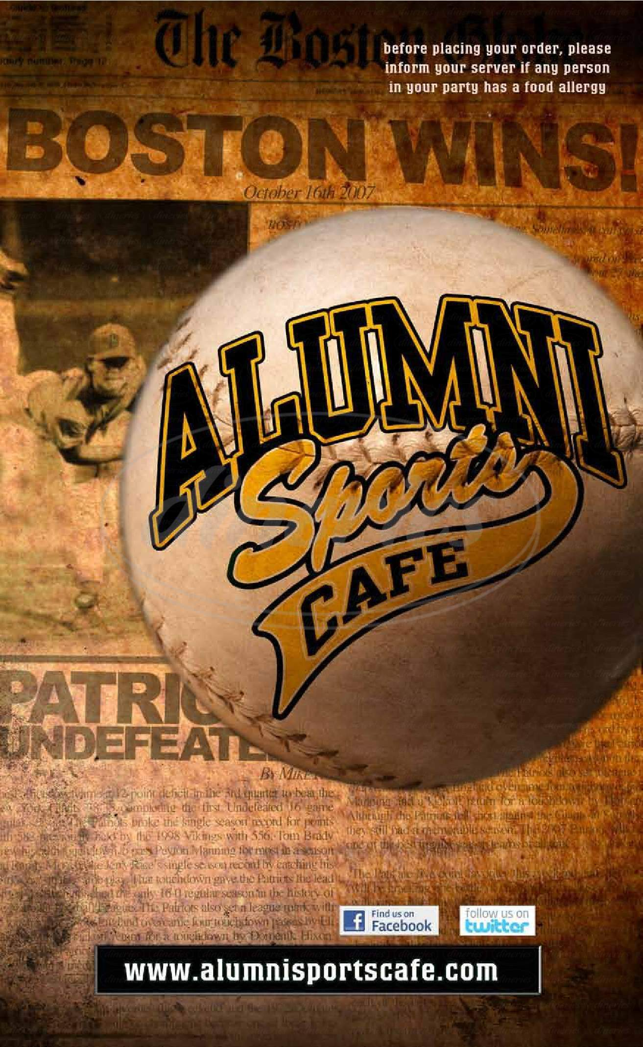 menu for Alumni Sports Cafe