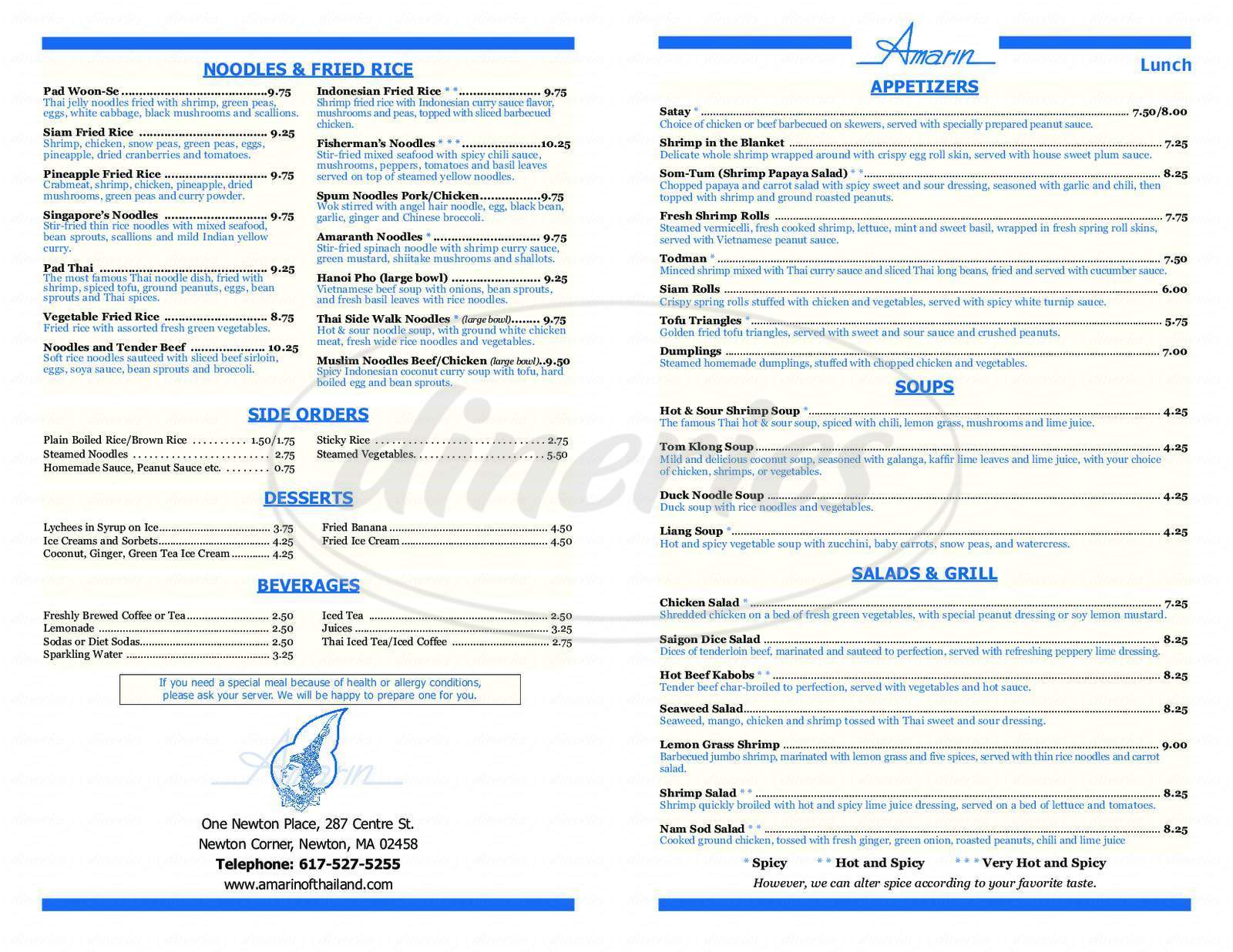 menu for Amarin of Thailand